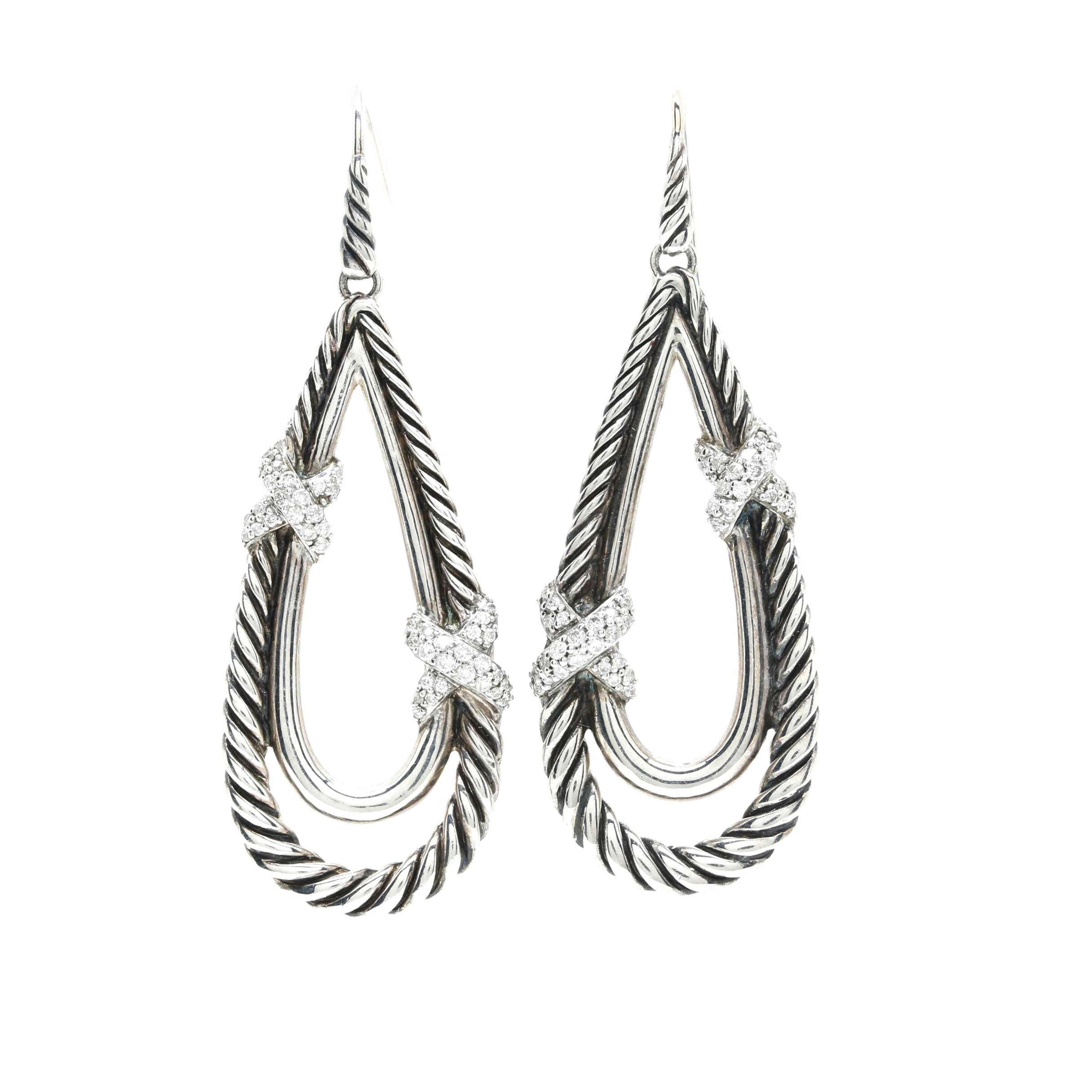 "David Yurman Sterling Silver ""X"" Drop Earrings With Diamonds"