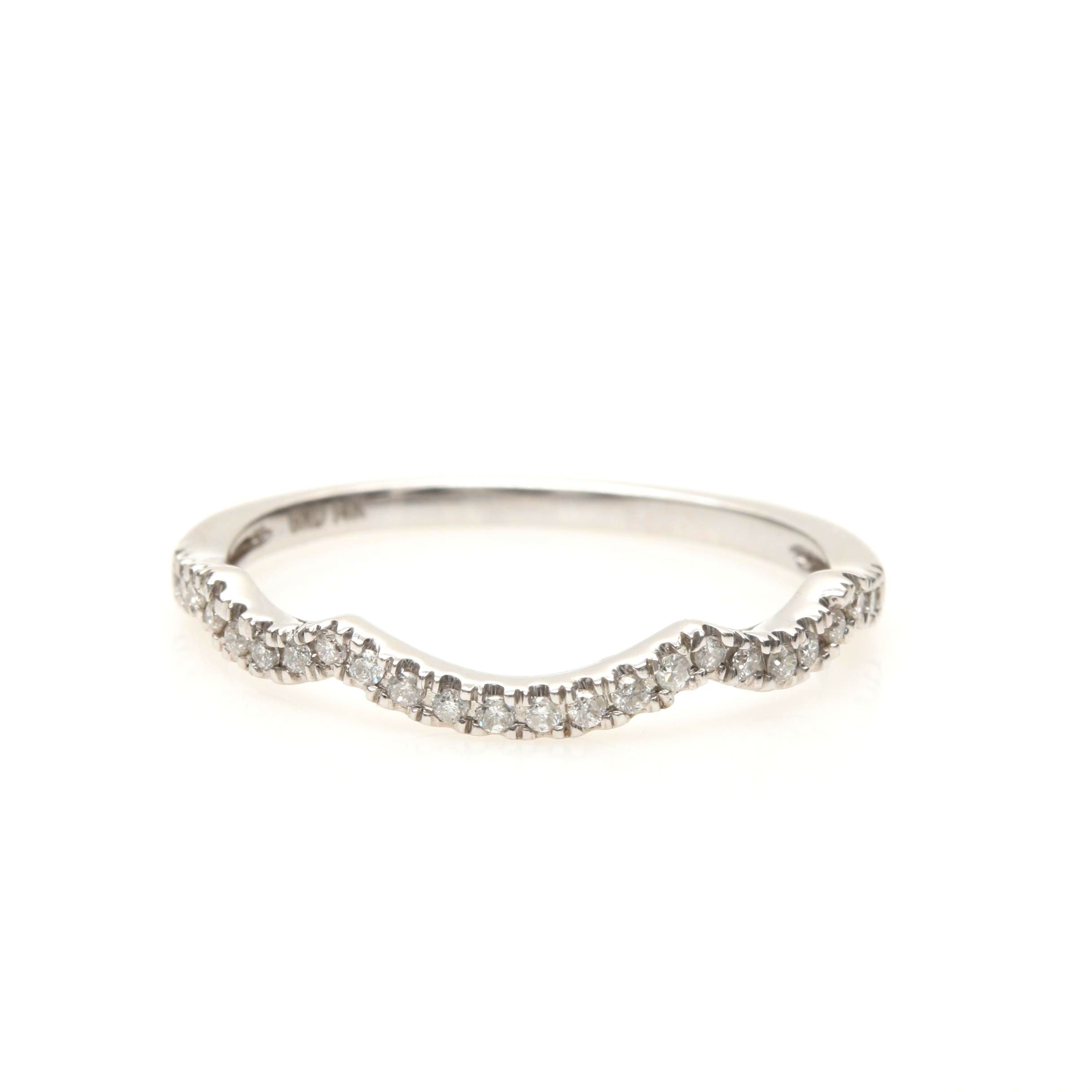 14K White Gold Diamond Contour Ring