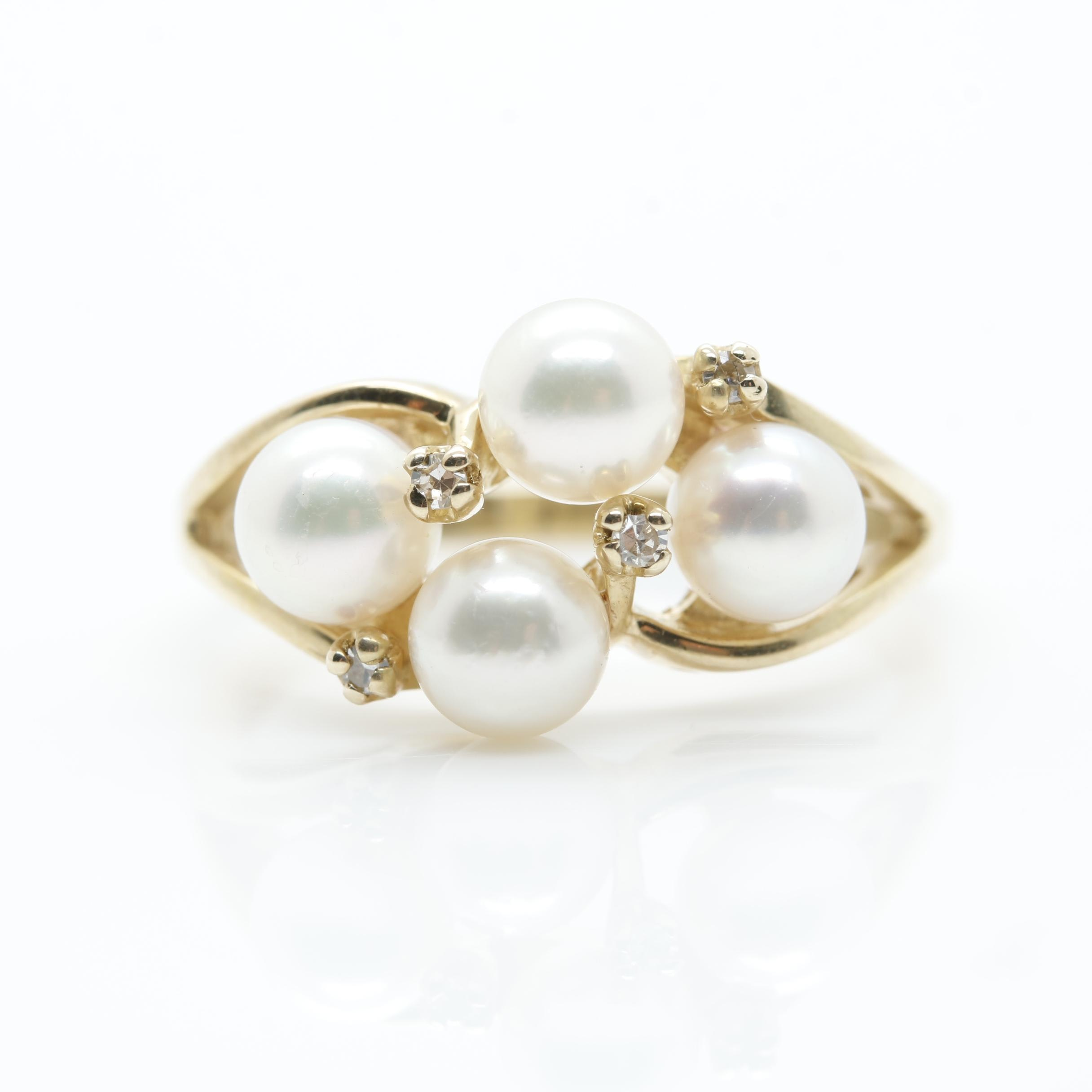10K Yellow Gold Cultured Pearl and Diamond Ring
