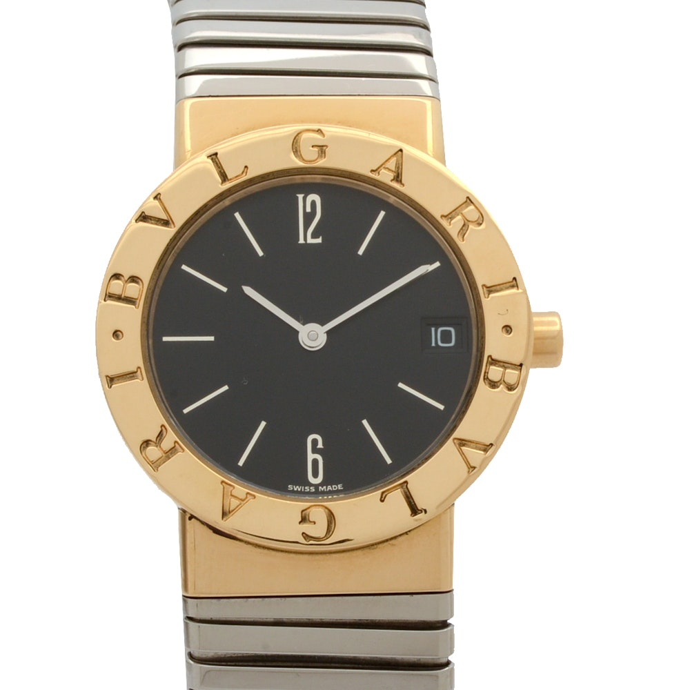 Bvlgari Tubogas 18K Yellow Gold and Steel Quartz Wristwatch