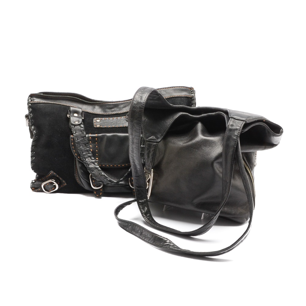 Ralph Lauren and Carla Mancini Black Leather Handbags