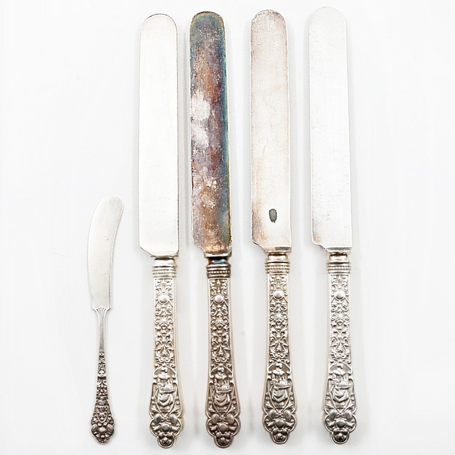 "Gorham ""Medici-Old"" Sterling Silver Handled Knives and Butter Spreader"