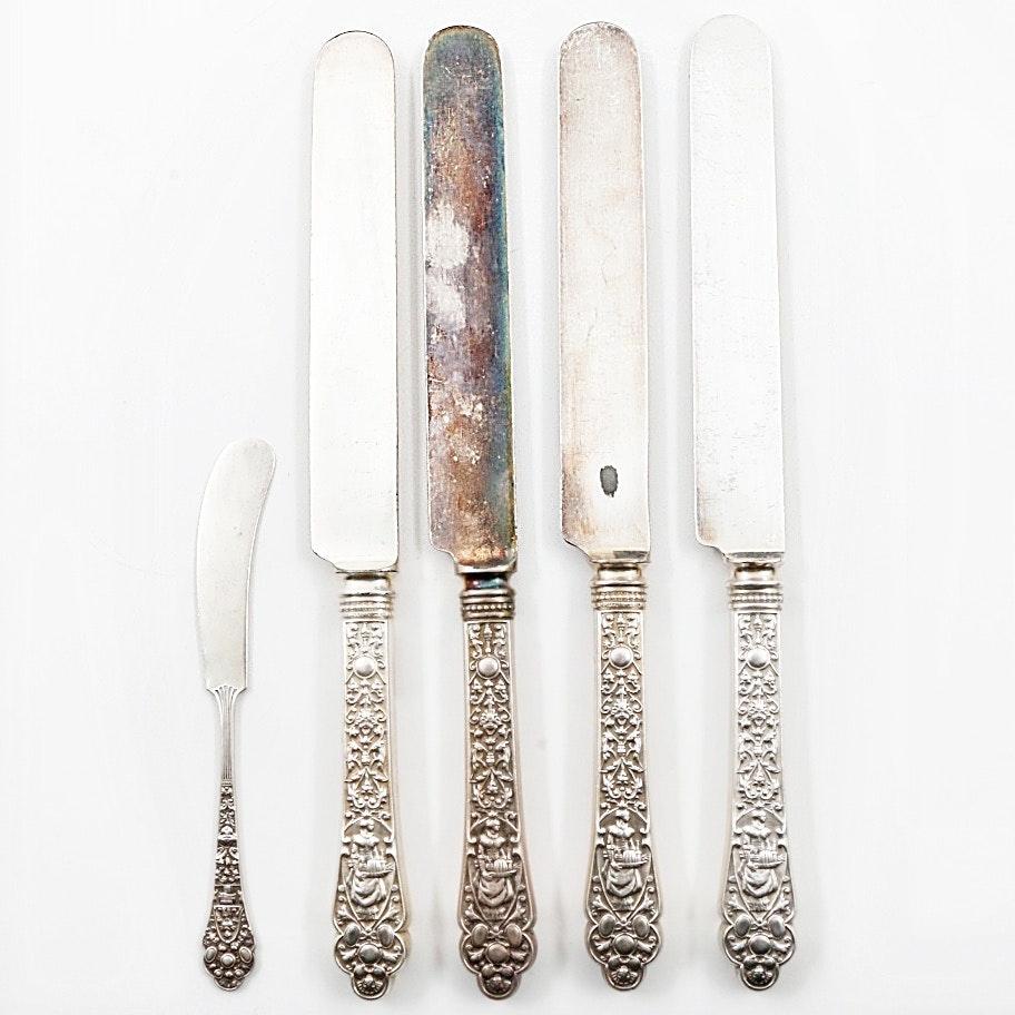 """Gorham """"Medici-Old"""" Sterling Silver Handled Knives and Butter Spreader"""