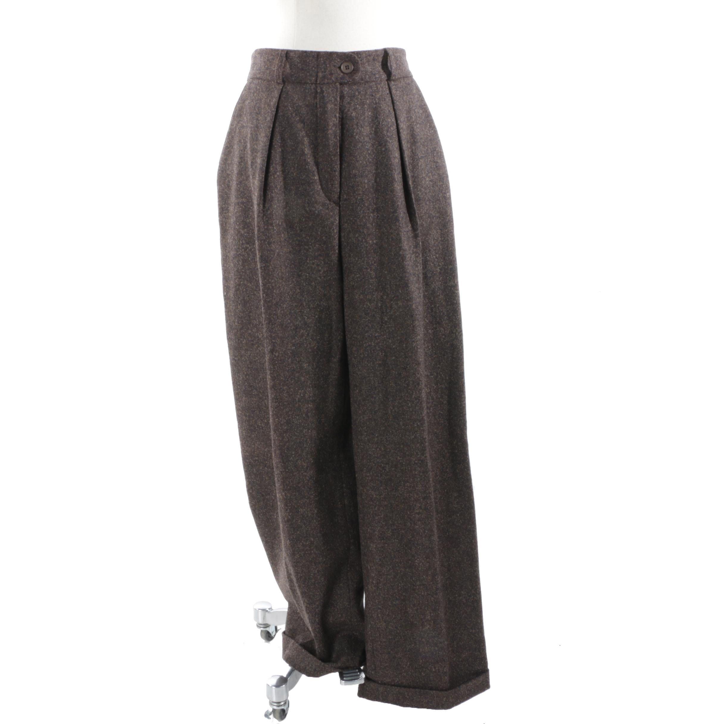 Alberta Ferretti Wool Cashmere Wide Leg Pleated Trousers