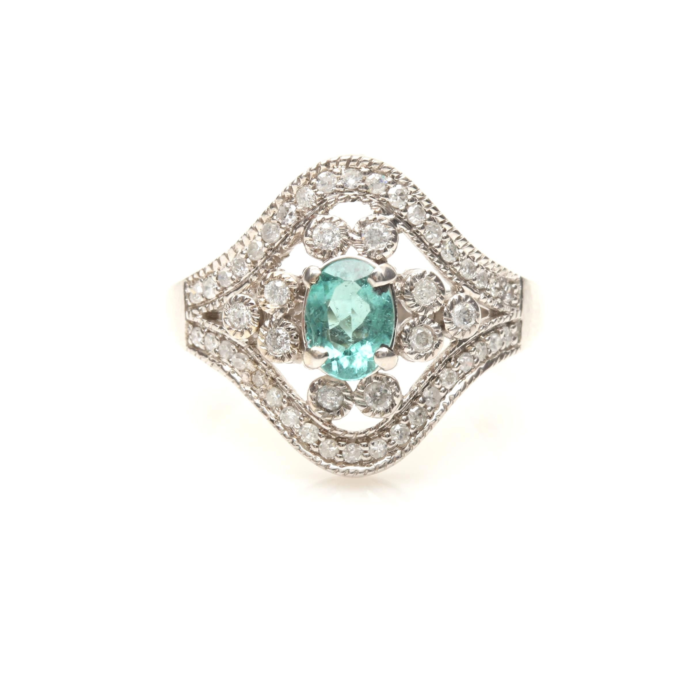 14K White Gold Cuprian Tourmaline and Diamond Ring