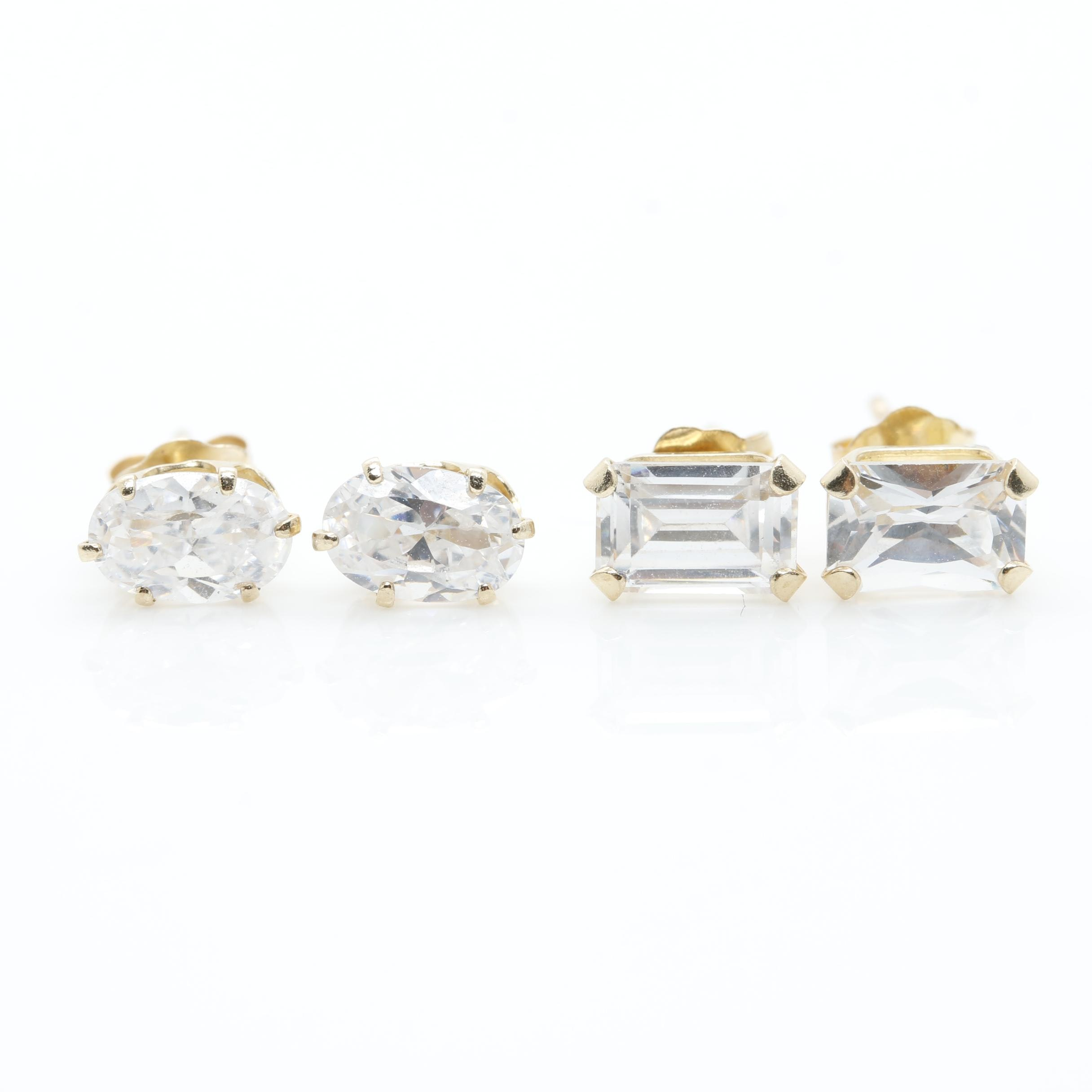 Pair of 14K Yellow Gold Cubic Zirconia Stud Earrings