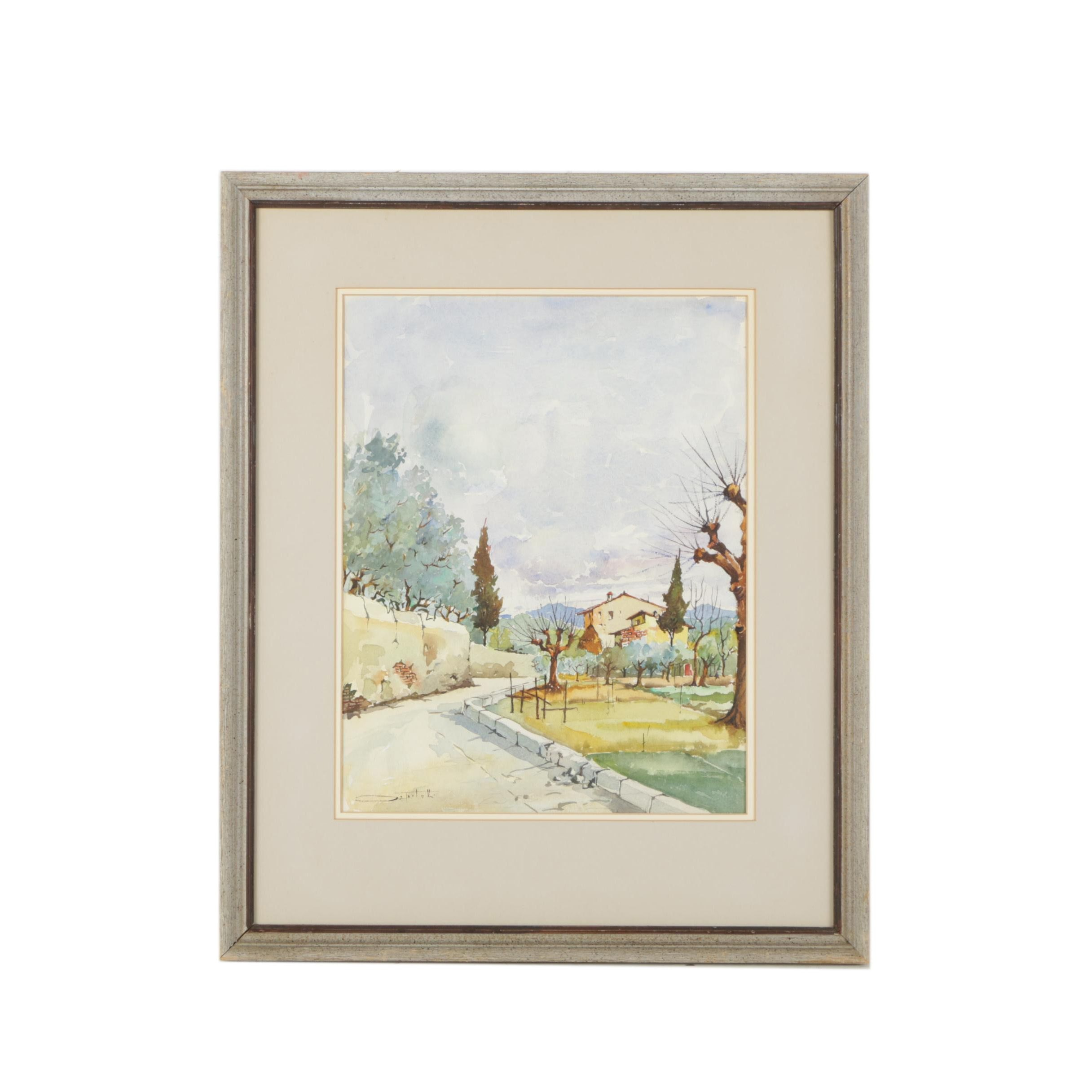 Watercolor Painting of a Stone Road