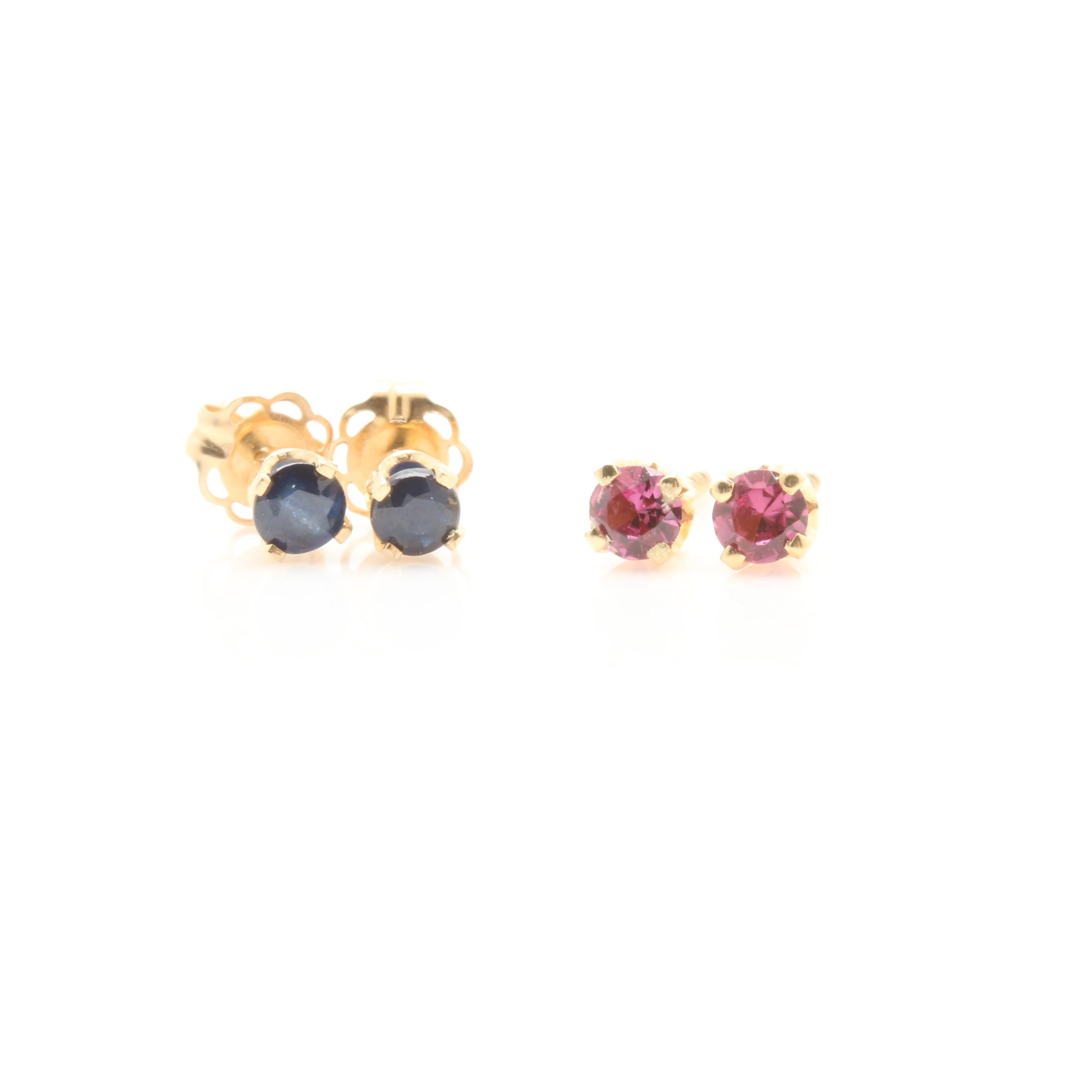 14K Yellow Gold Rhodolite Garnet and Sapphire Stud Earrings