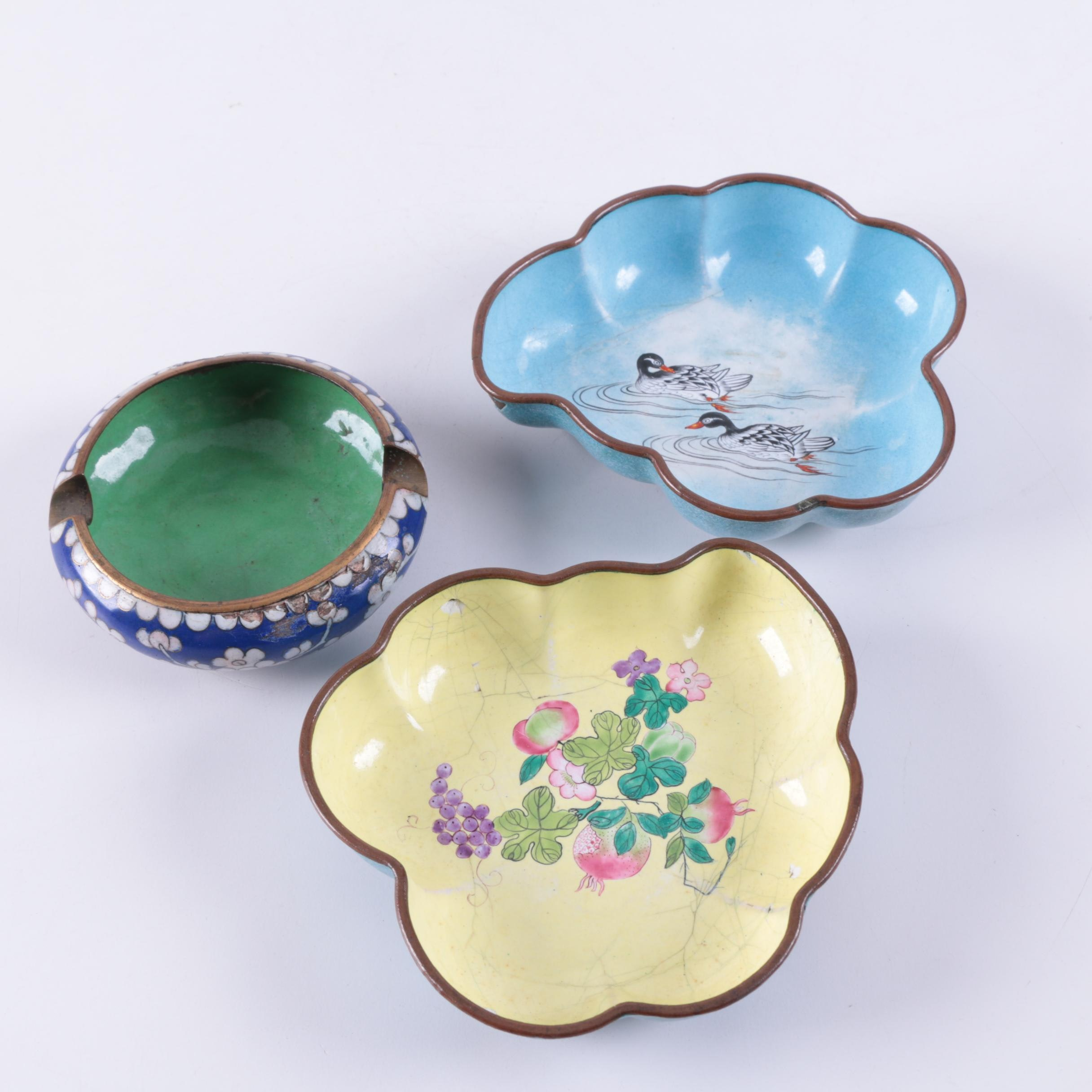 Chinese Enamel Bowls and Ash Receiver