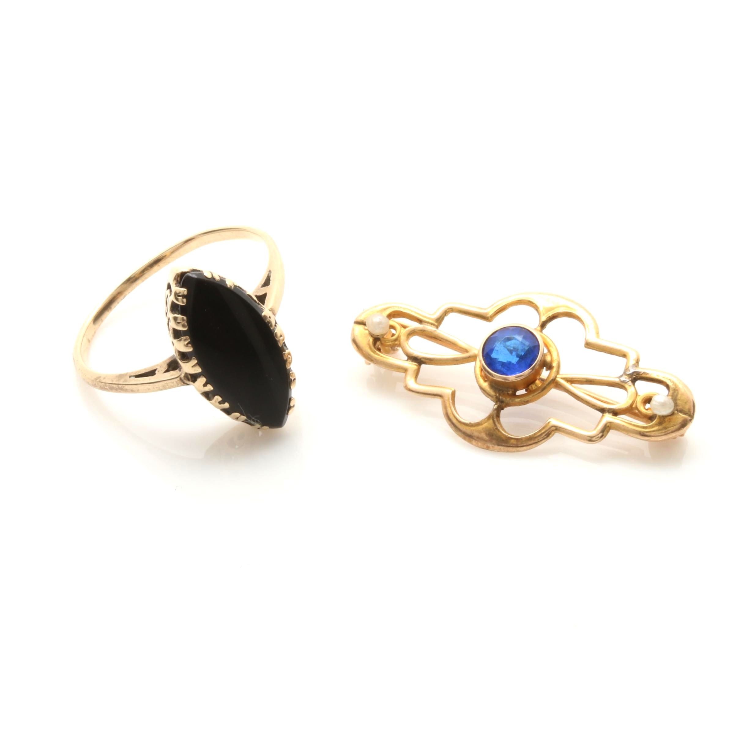 Antique 10K Yellow Gold Black Onyx Ring and Blue Glass Seed Pearl Brooch