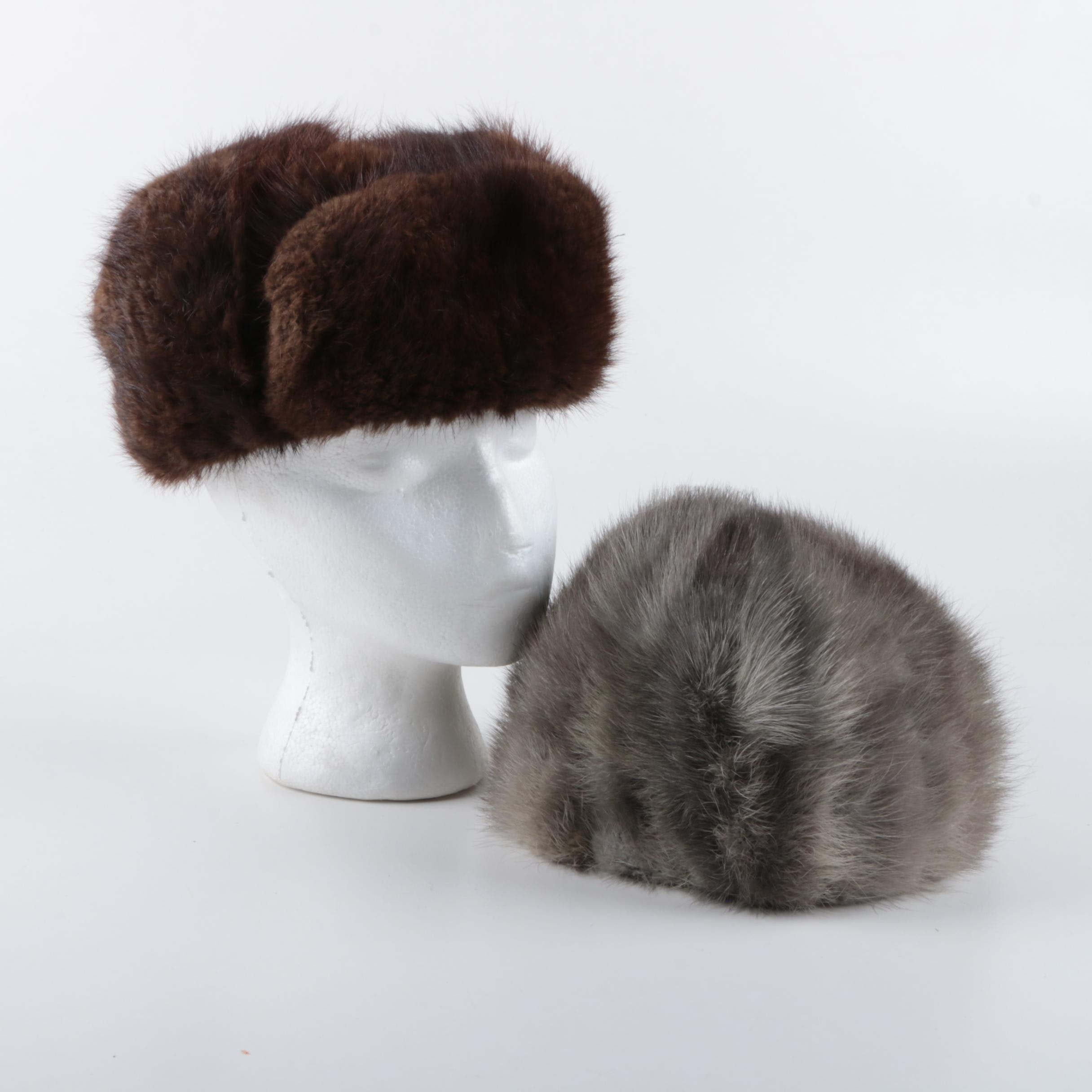 Mink Fur Cap and Muskrat fur Ushanka Hat