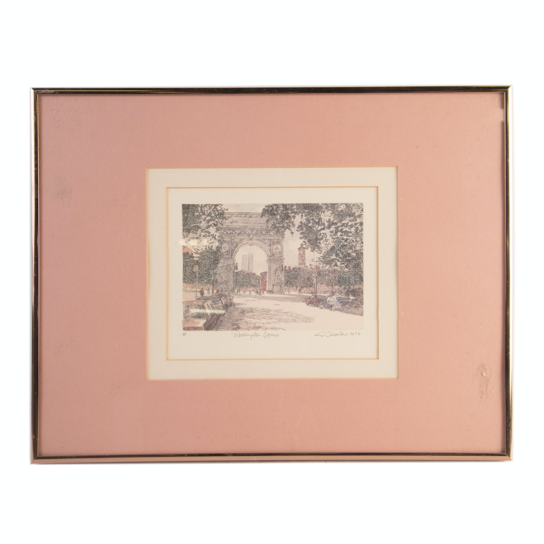 """Vintage S. Chambers Artist Proof Offset Lithograph """"Washington Square"""""""