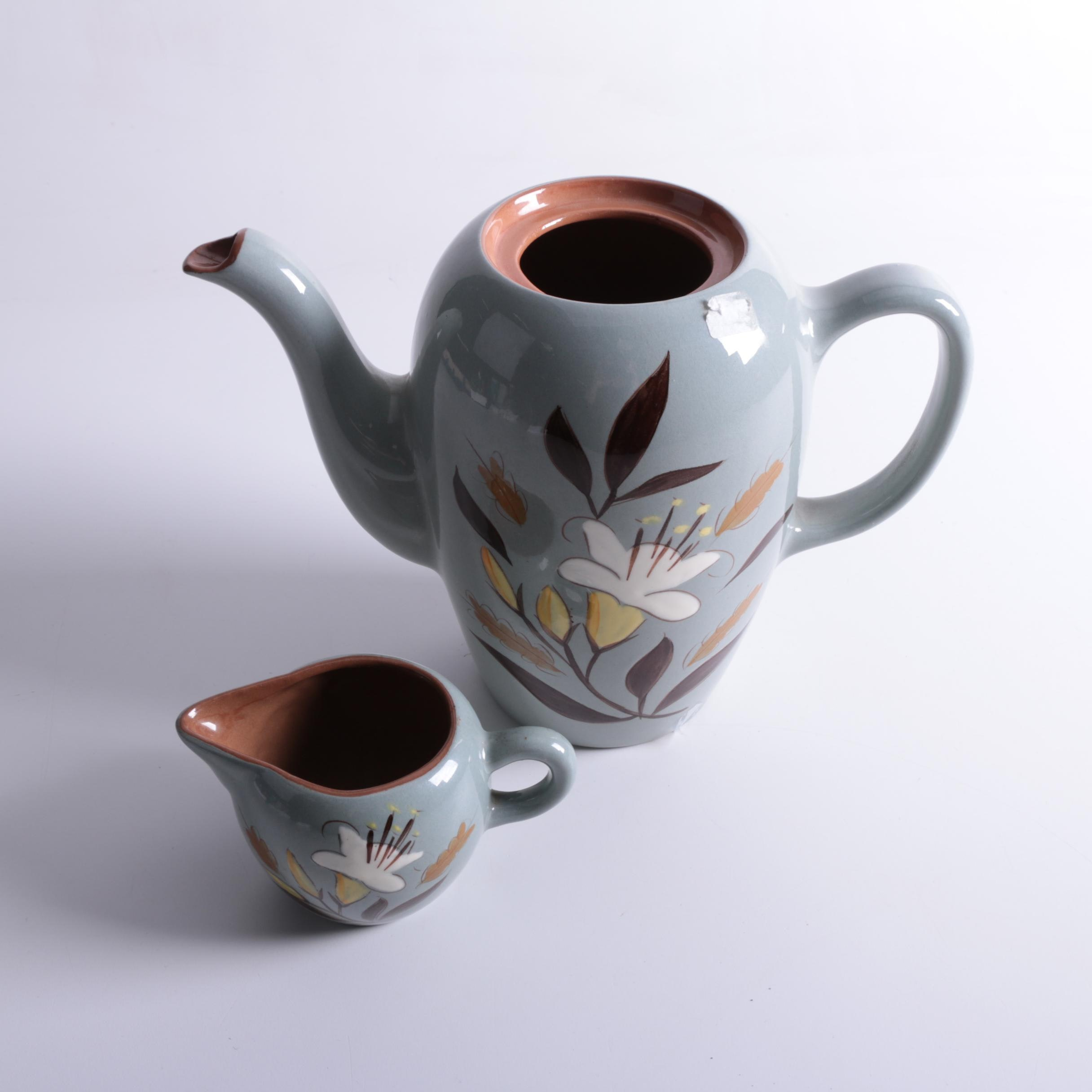 """Vintage Stangl """"Golden Harvest"""" Coffee Pot and Creamer"""