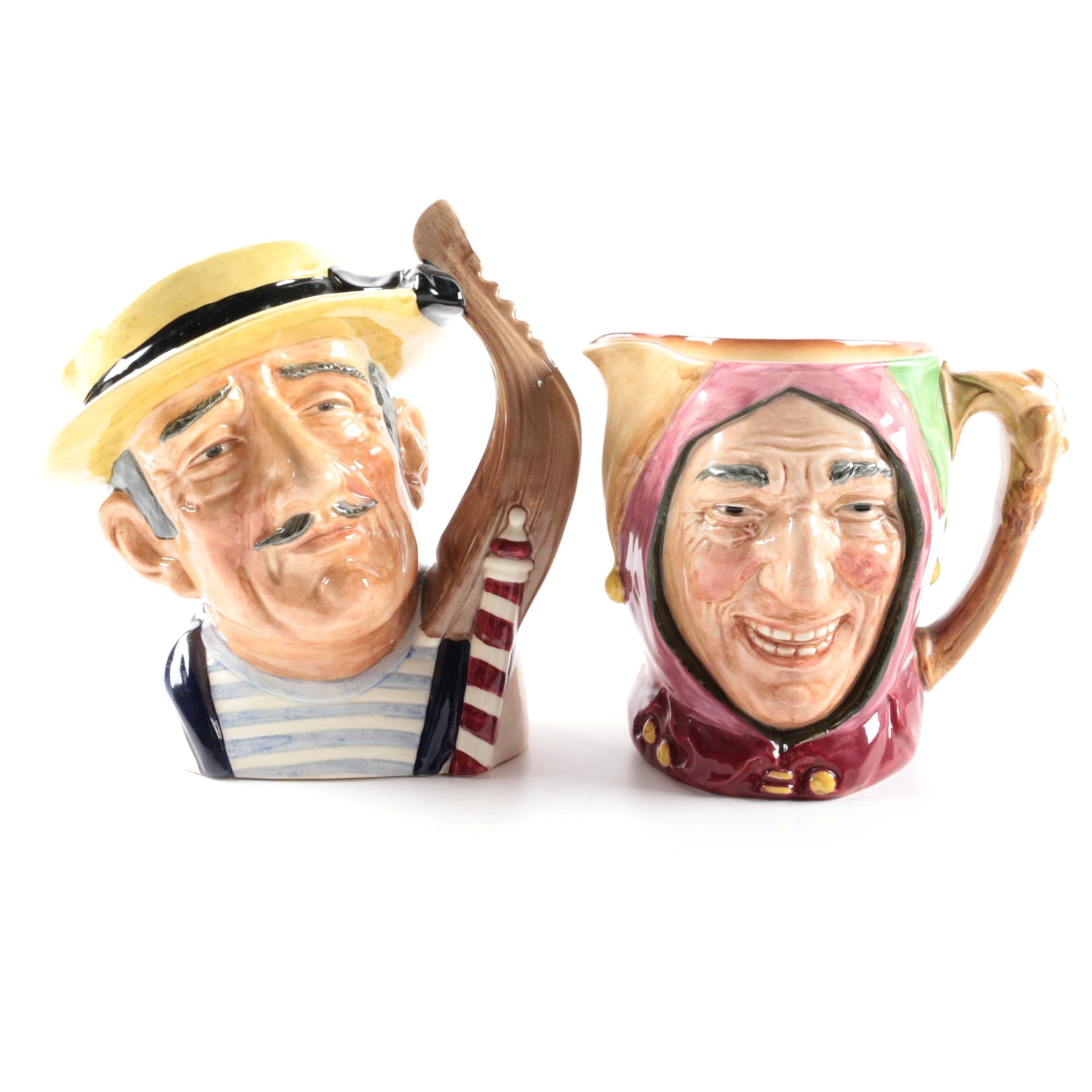 """Vintage Royal Doulton """"Gondolier"""" D6589 and """"Touchstone"""" Character Jugs"""