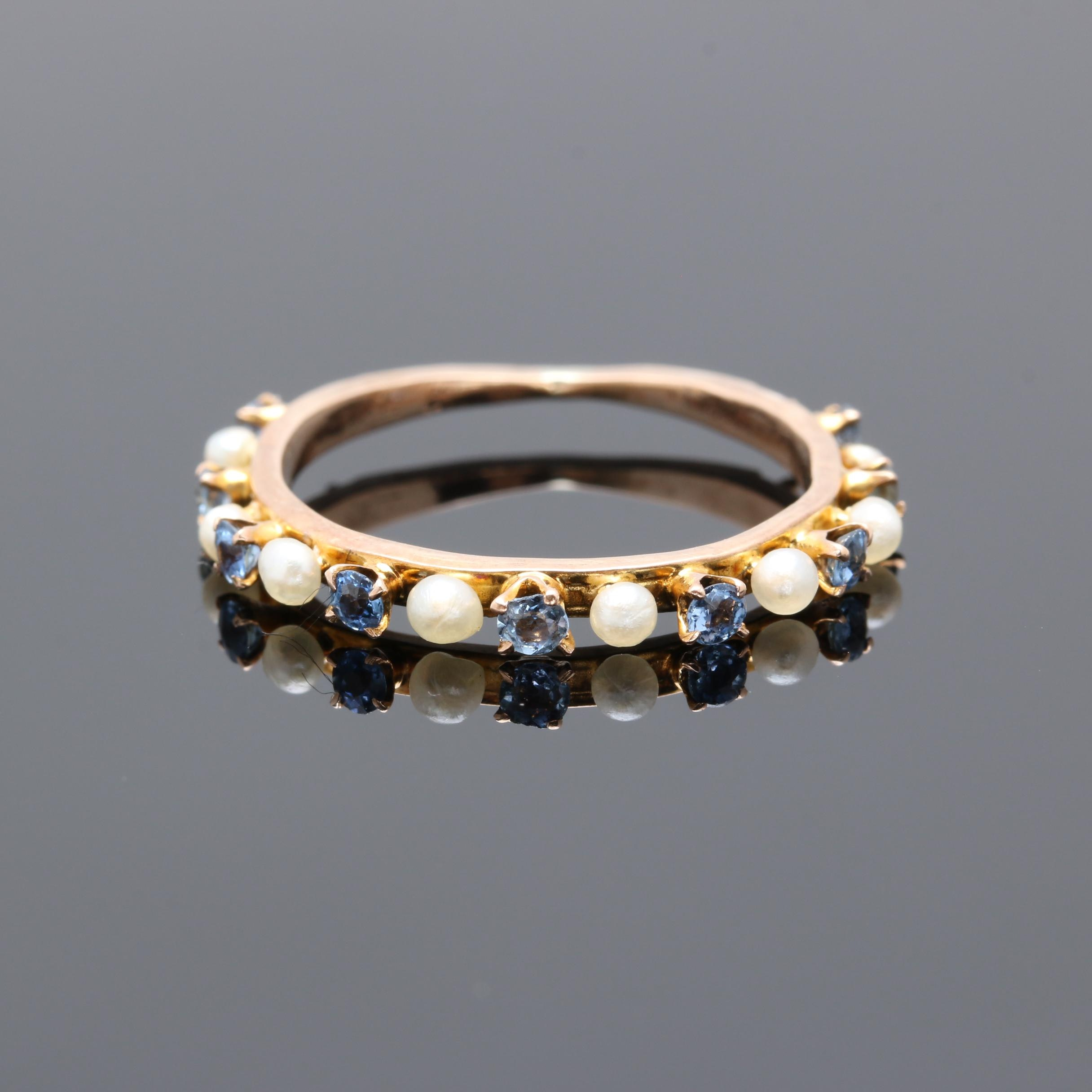 10K Yellow Gold Blue Sapphire and Cultured Pearl Ring