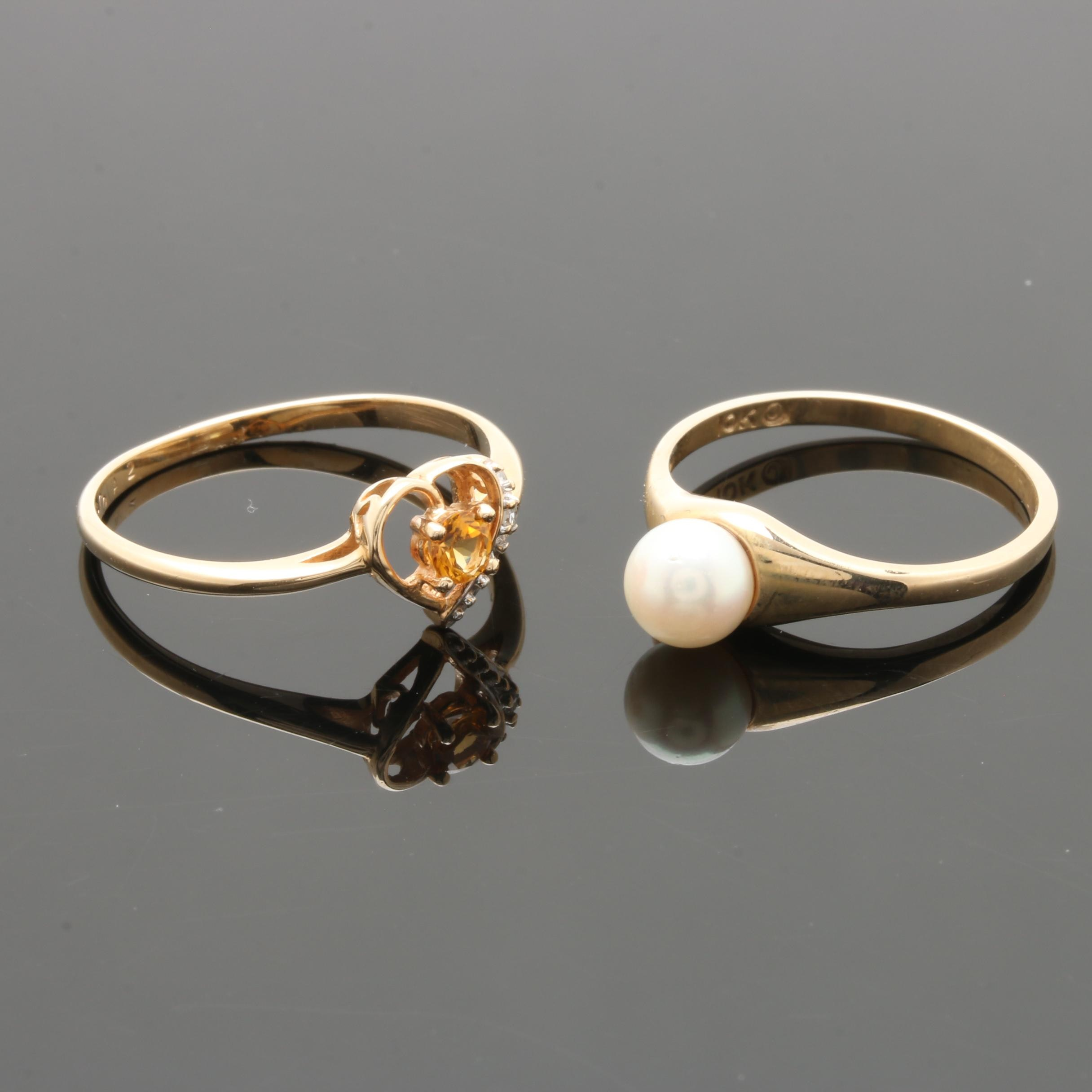 10K Yellow Gold Cultured Pearl, Citrine, and Diamond Rings
