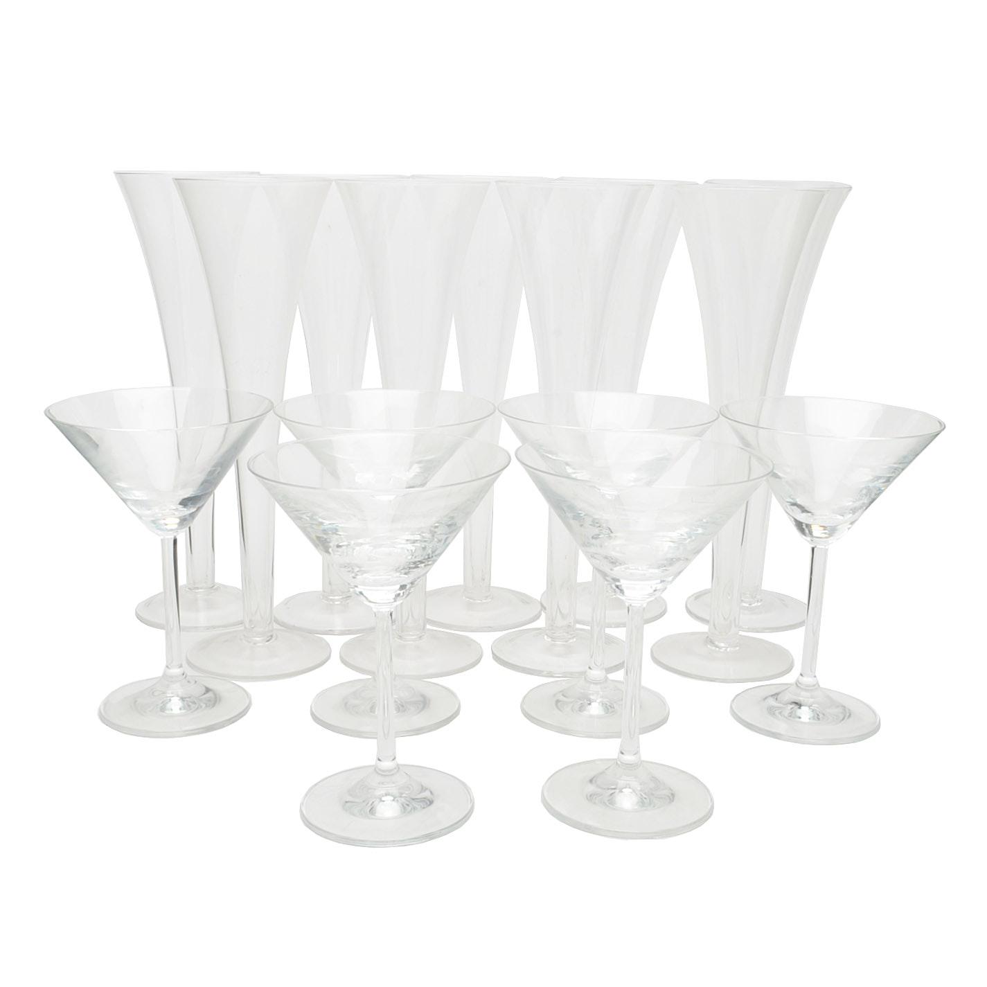 Sparkling Wine Flutes and Martini Glasses