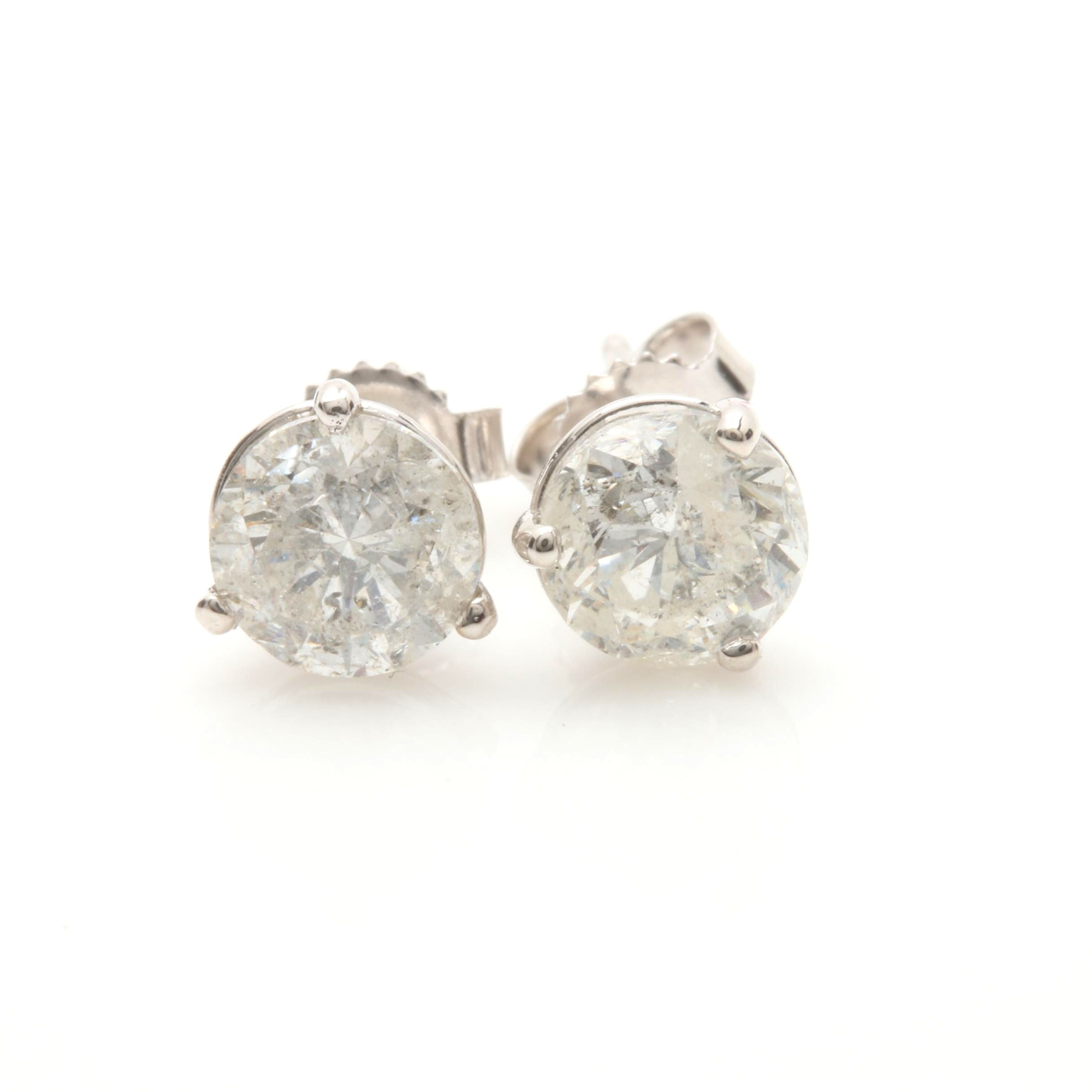 14K White Gold 1.72 CTW Diamond Stud Earrings