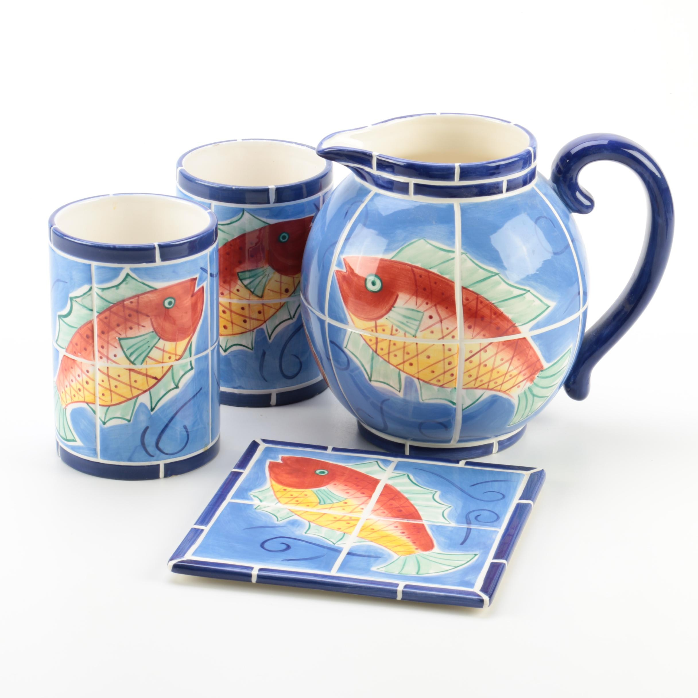 "Clay Art ""Adriatic"" Hand Painted Pitcher, Cups and Trivet"