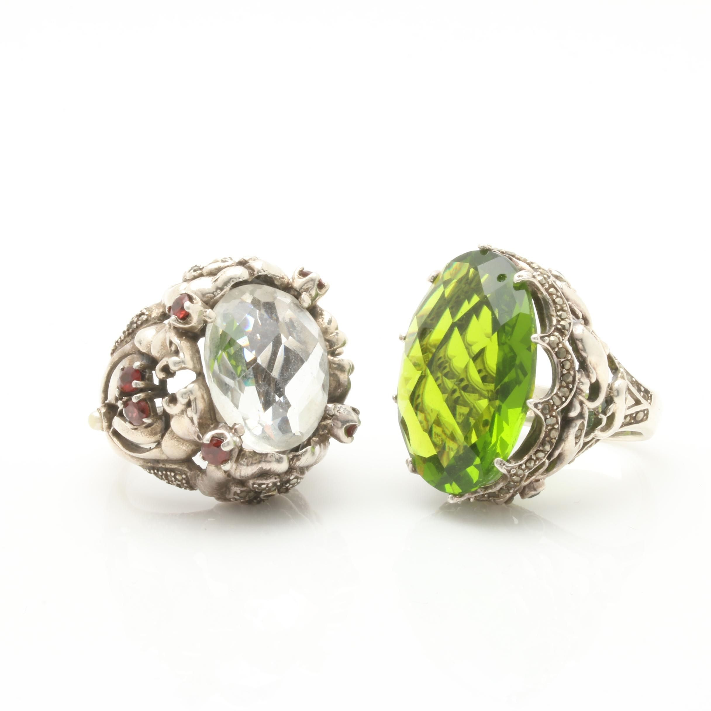 Sterling Silver Gemstone Statement Ring Selection