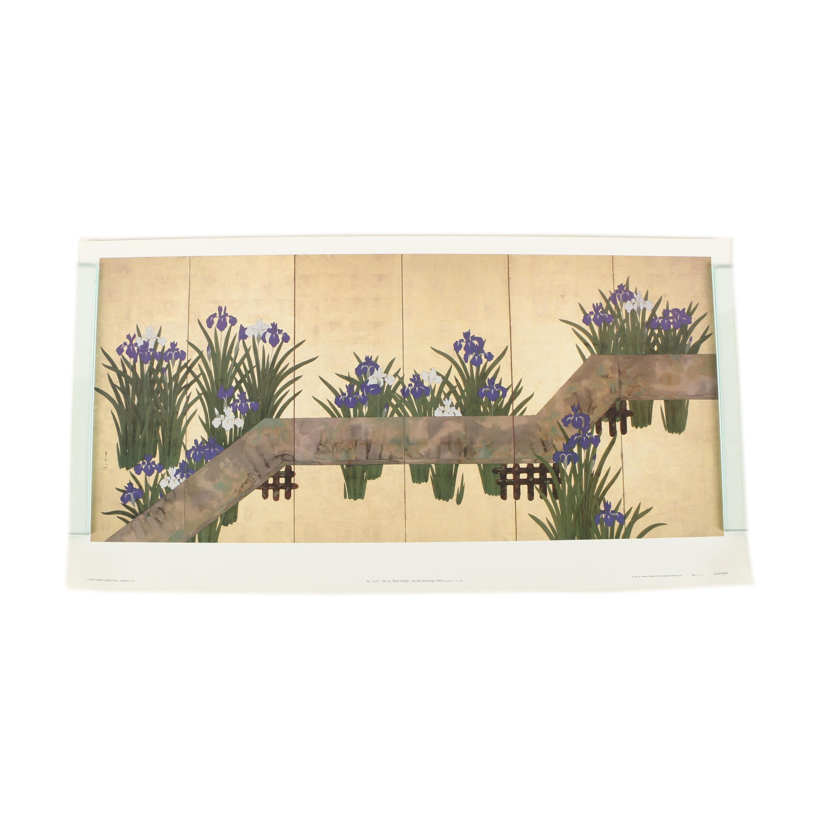 "Offset Lithograph on Paper after Suzuki Kiitsu ""Iris By Plank Bridge"""