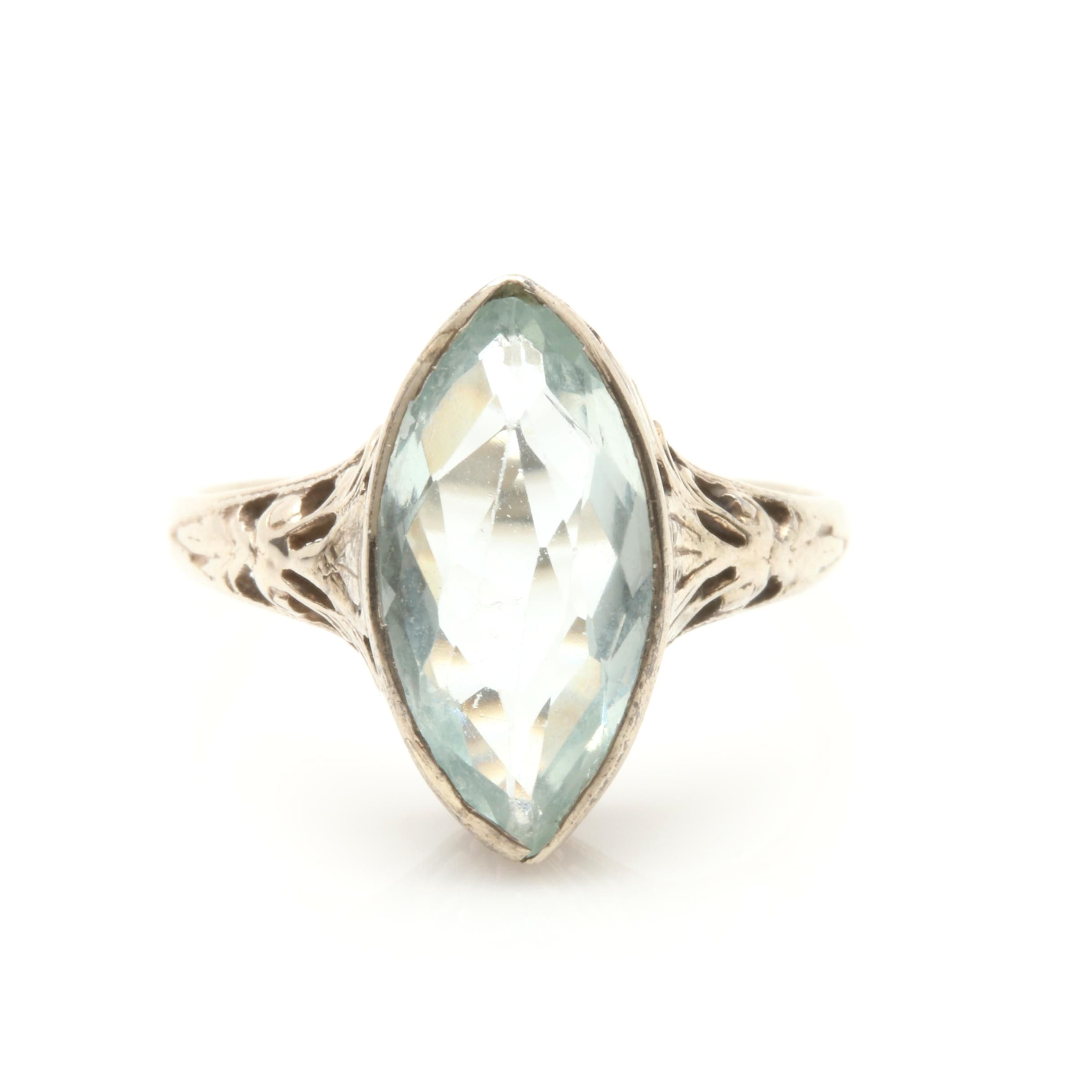 Art Deco 14K White Gold Aquamarine Ring