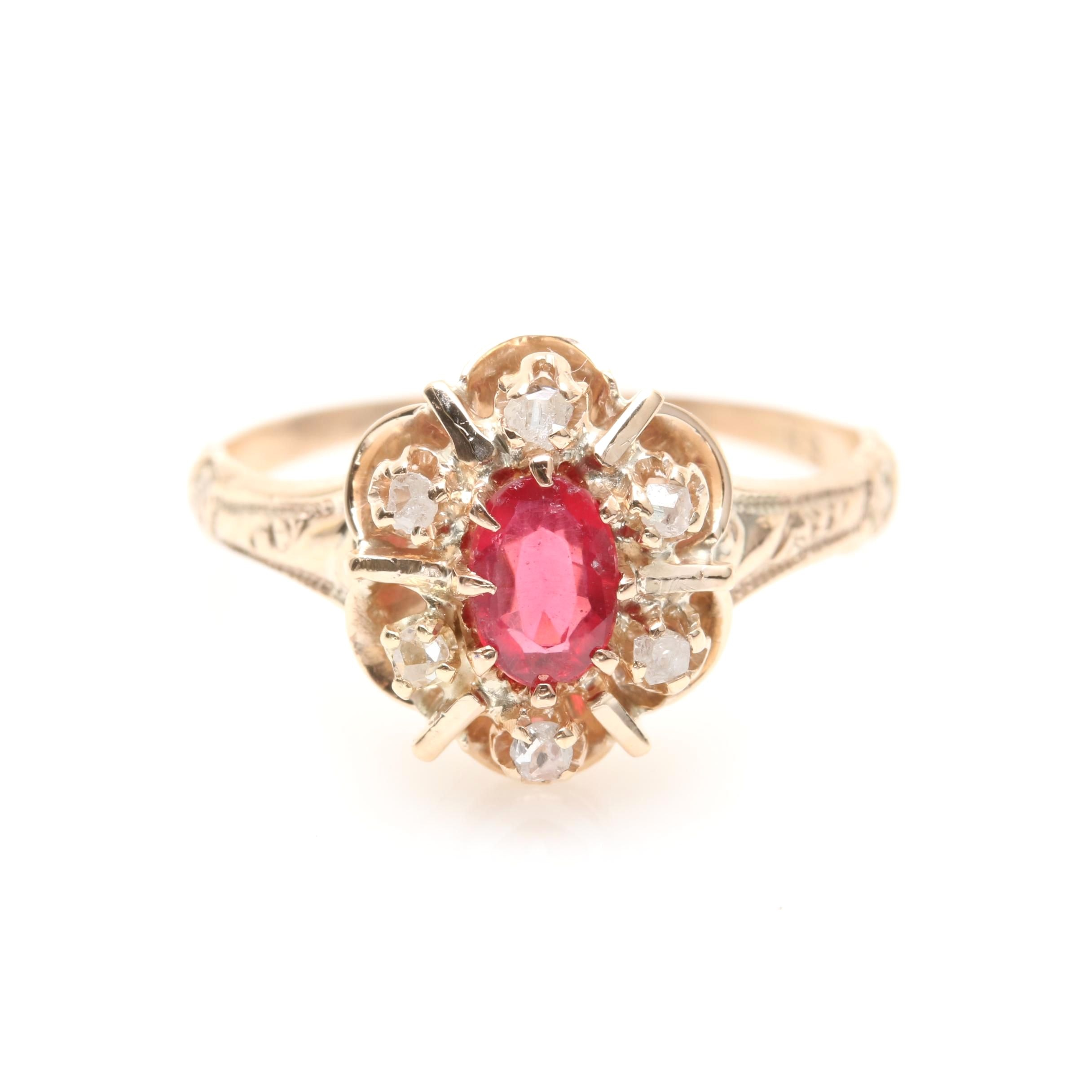 Victorian 10K Yellow Gold Glass and Garnet Doublet and Diamond Ring