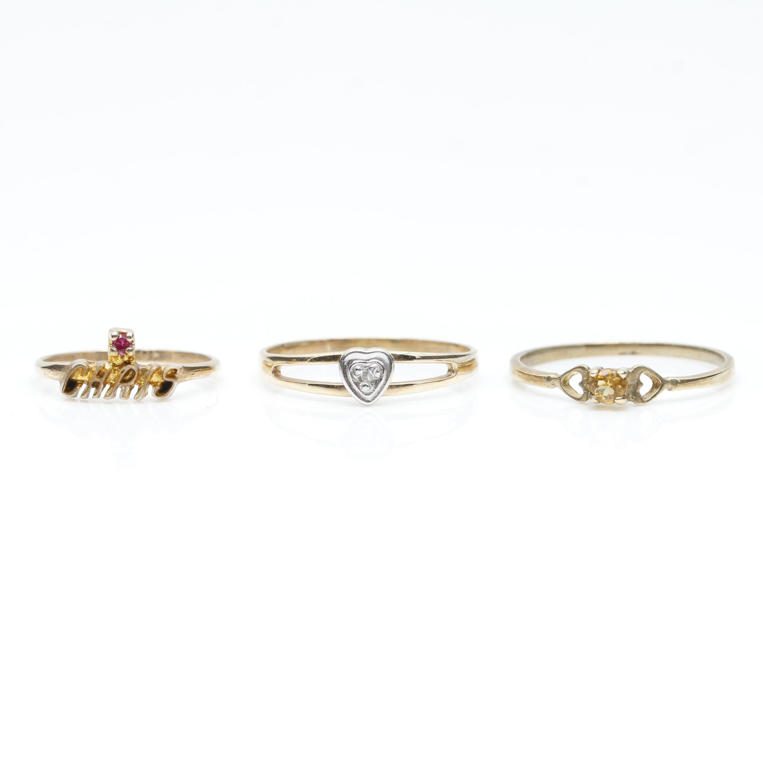 10K Yellow Gold Citrine, Synthetic Spinel, and Diamond Infant Ring Selection