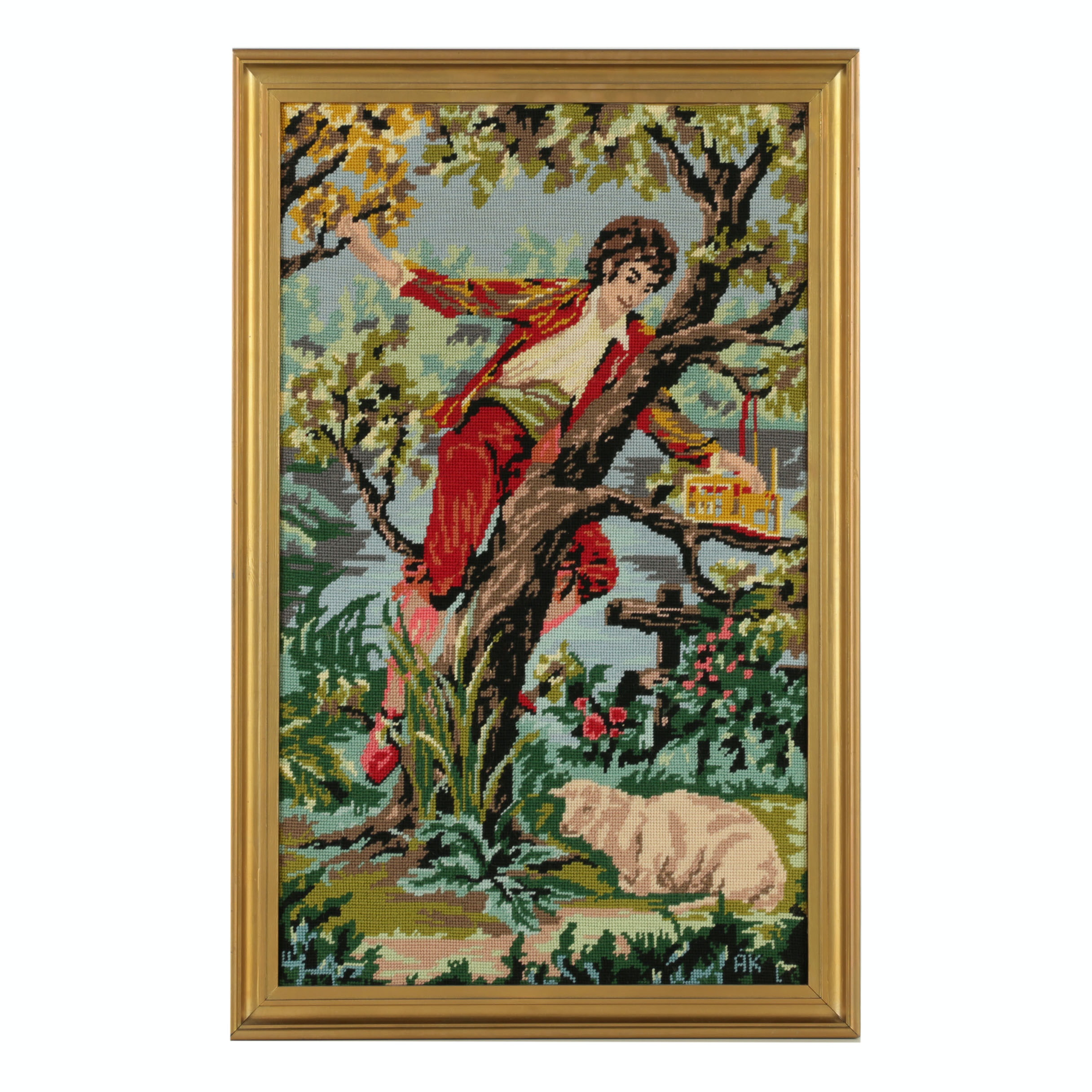 Needlepoint Embroidery of Figurative Scene