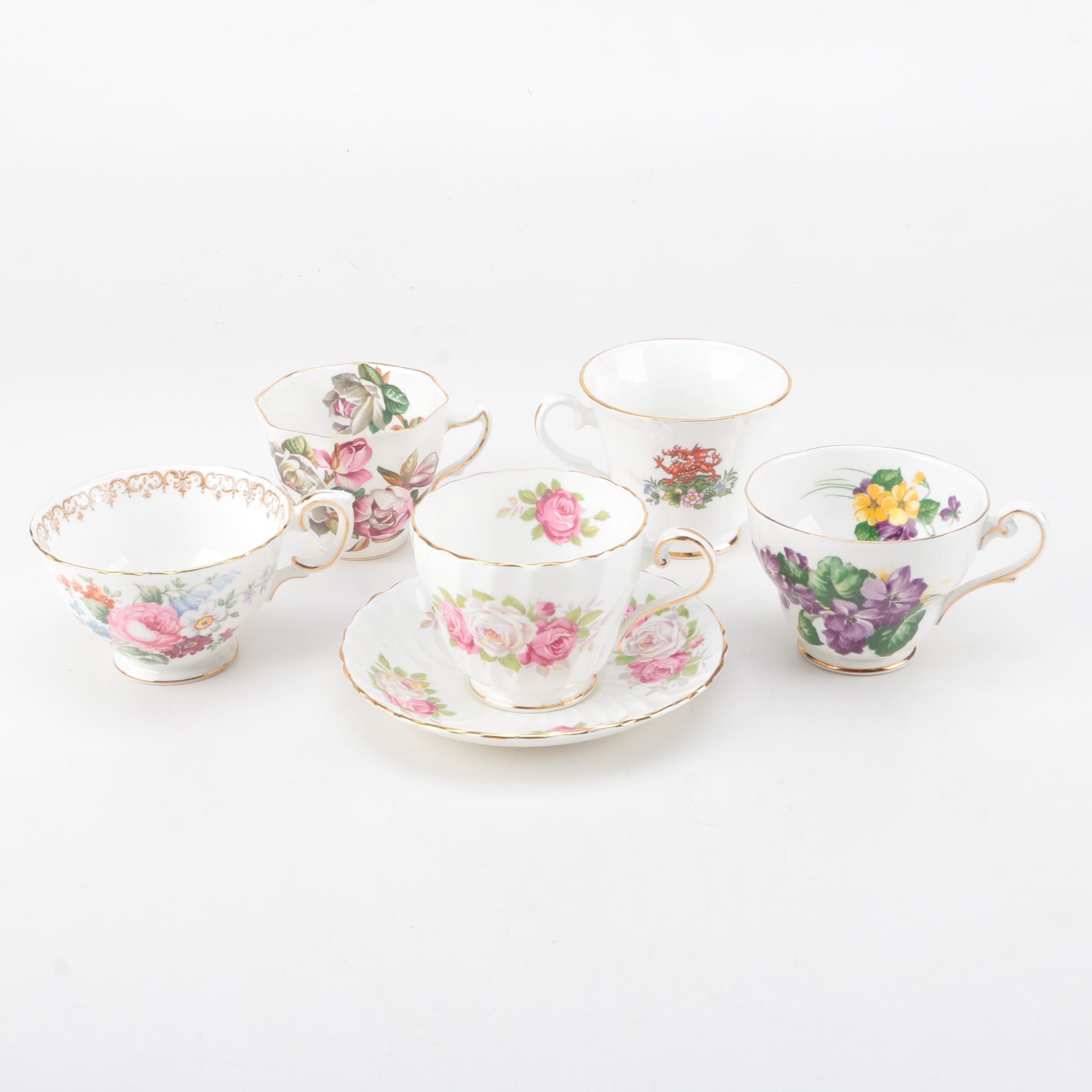 Aynsley and Royal Standard Floral Porcelain Teacups
