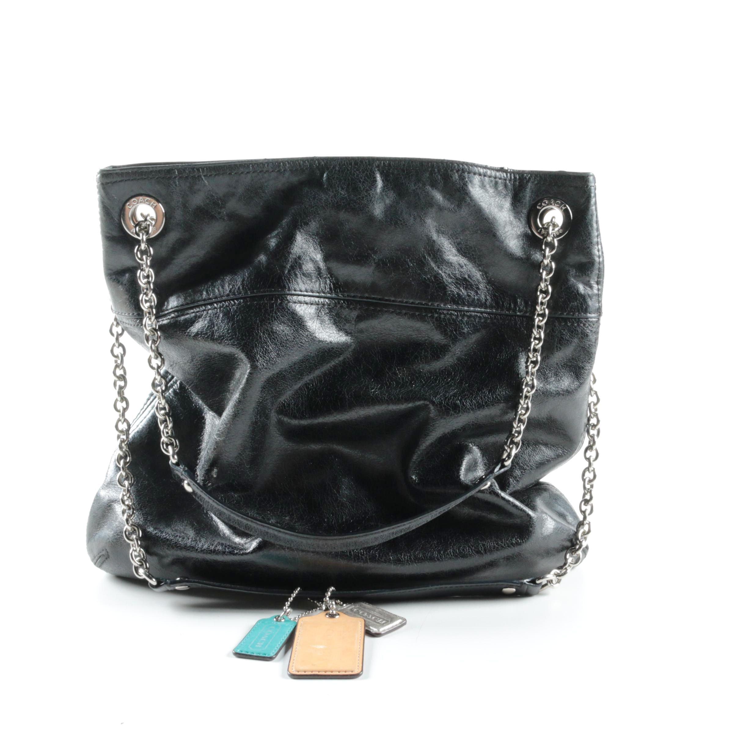 Coach Poppy Chain Handle Black Leather Shoulder Bag