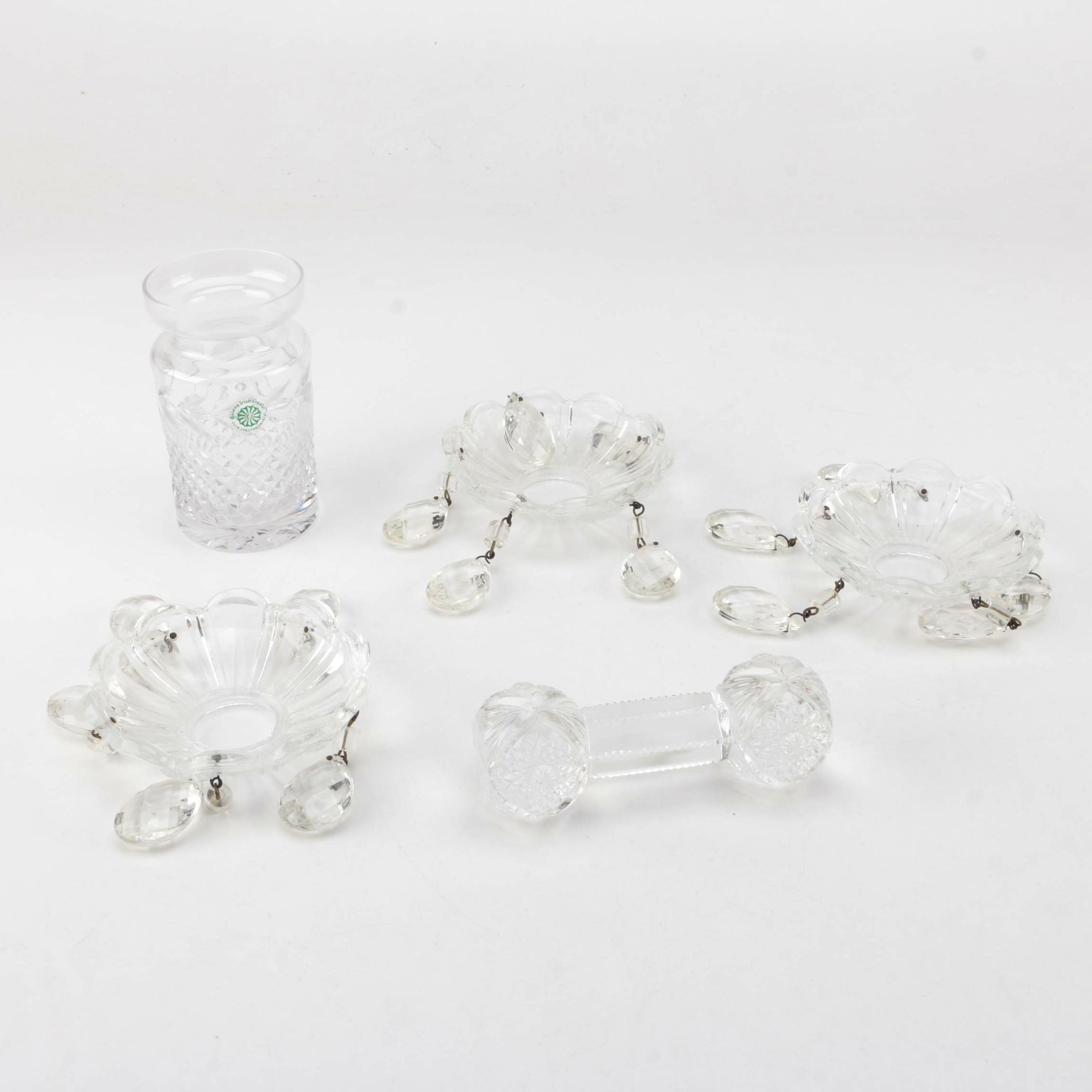 """Galway Crystal """"Leah"""" Condiment Jar, Bobeches with Prisms and Glass Knife Rest"""