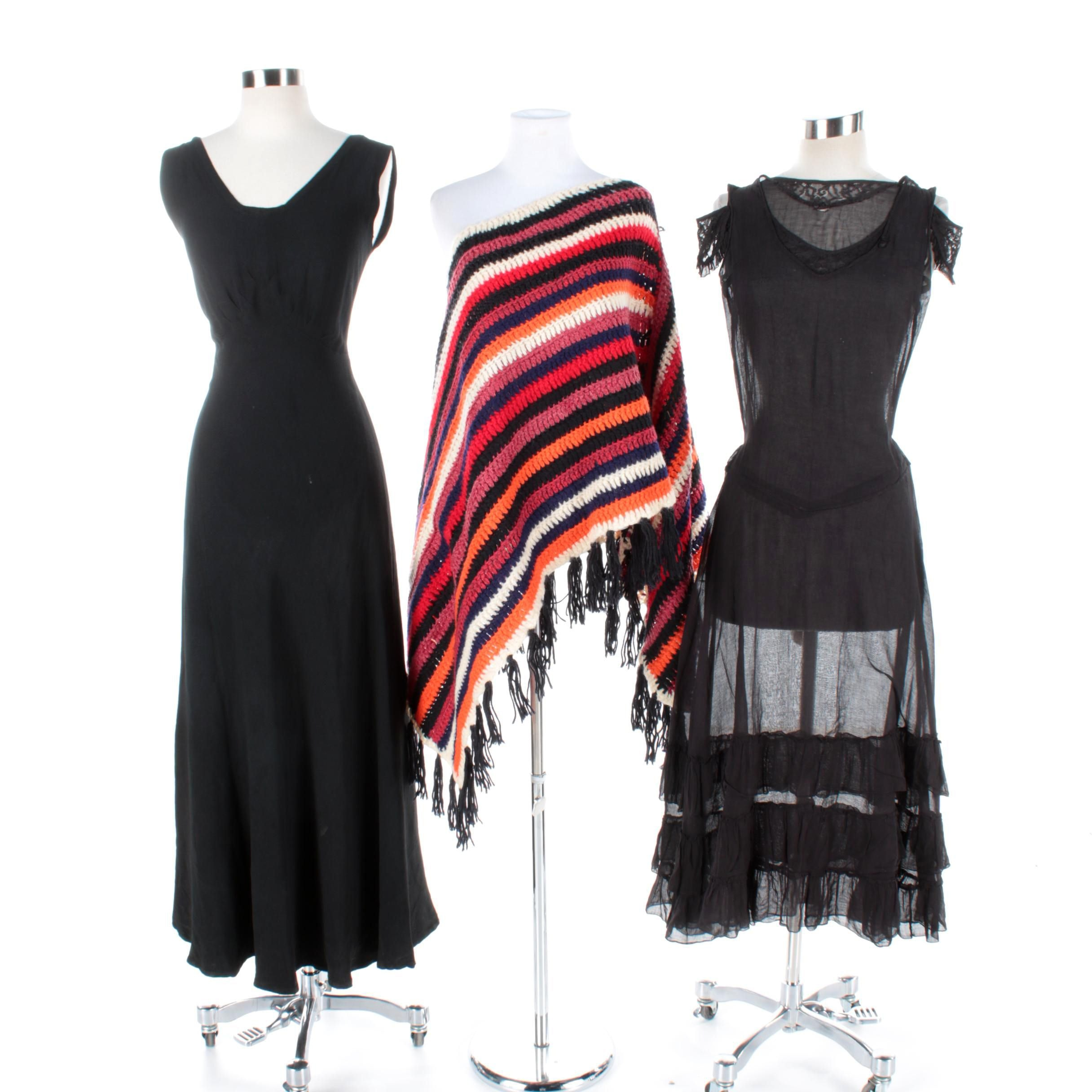 Vintage Black Dresses and Knit Poncho