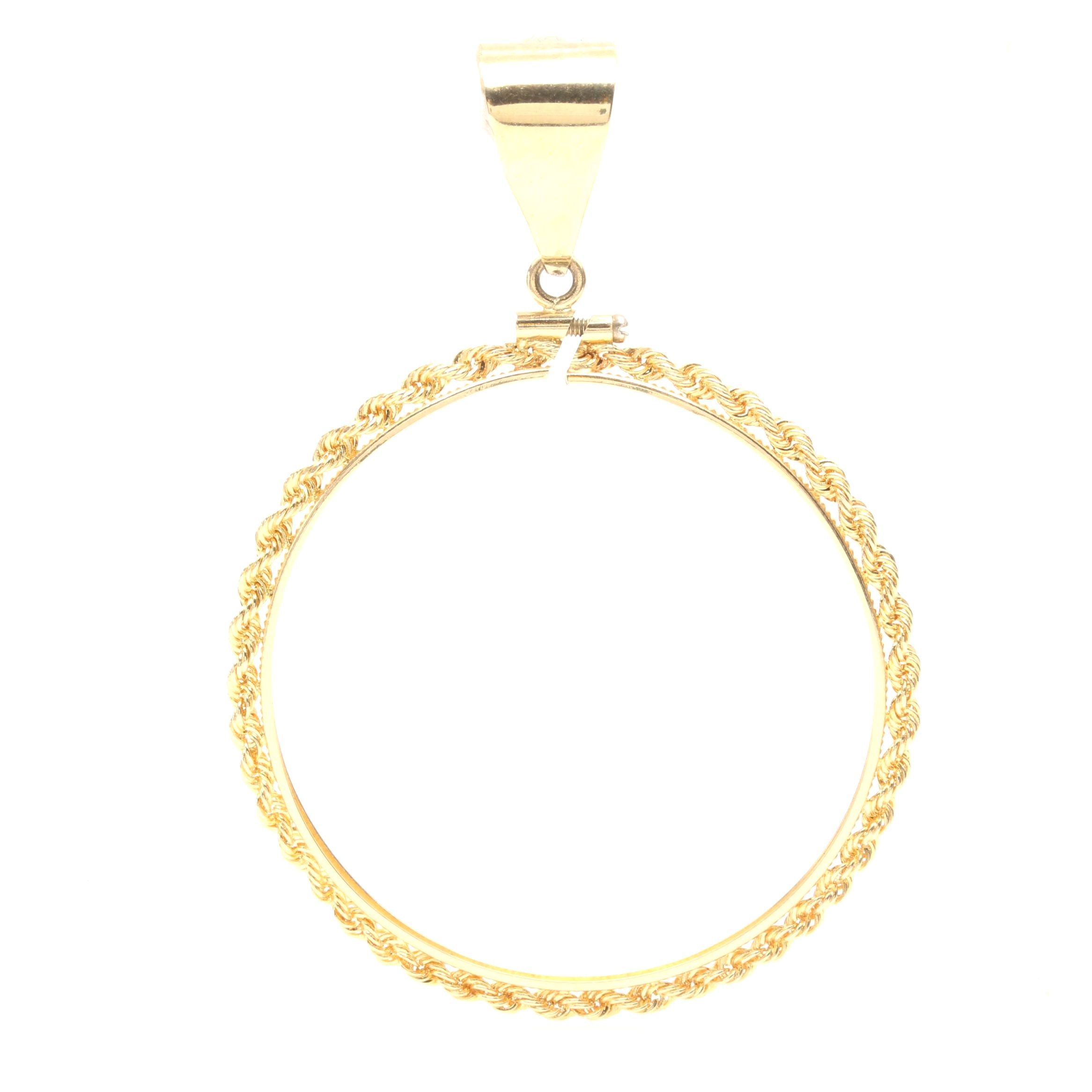 14K Yellow Gold Coin Pendant Bezel