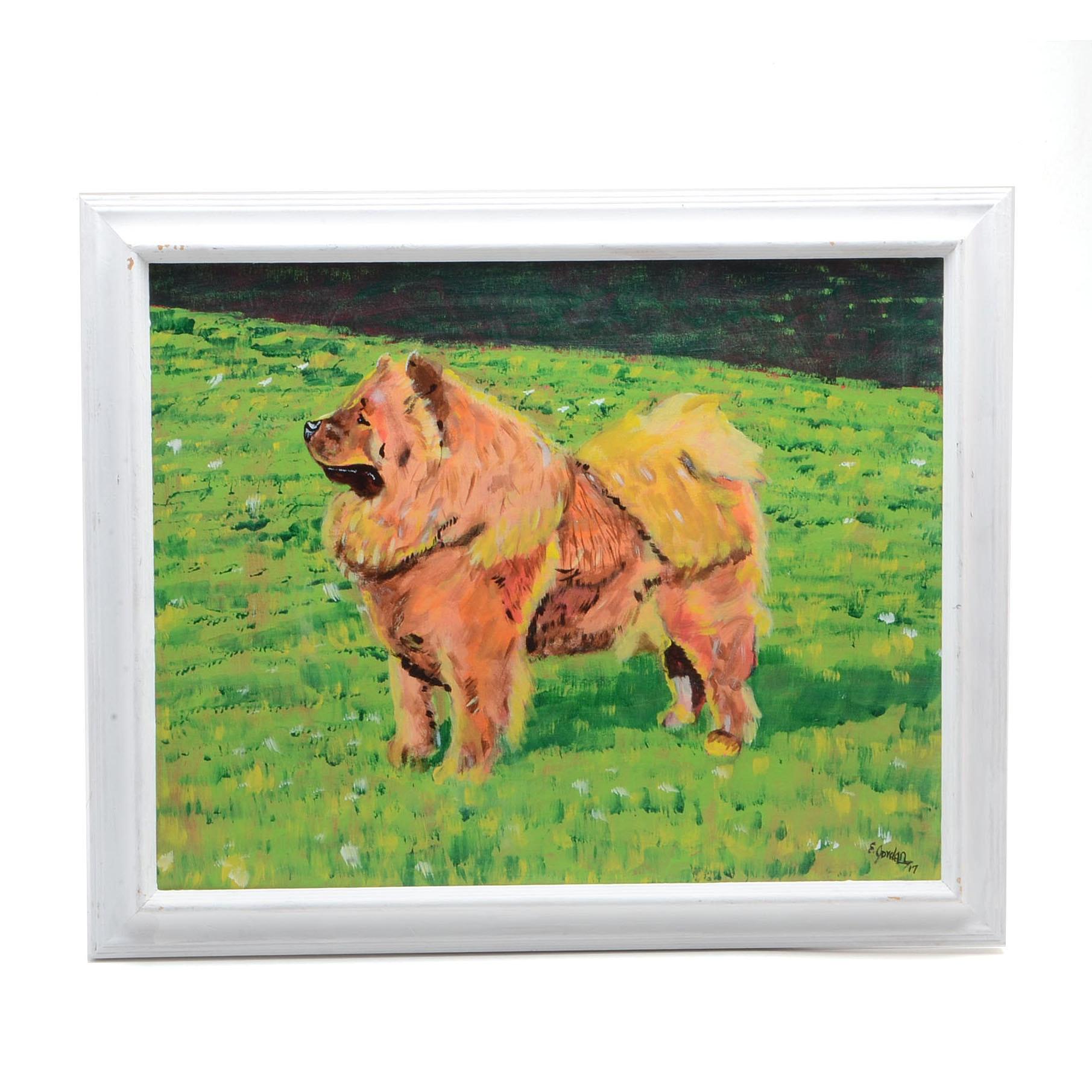 Elliot Jordan Acrylic Painting on Canvas of a Chow Dog