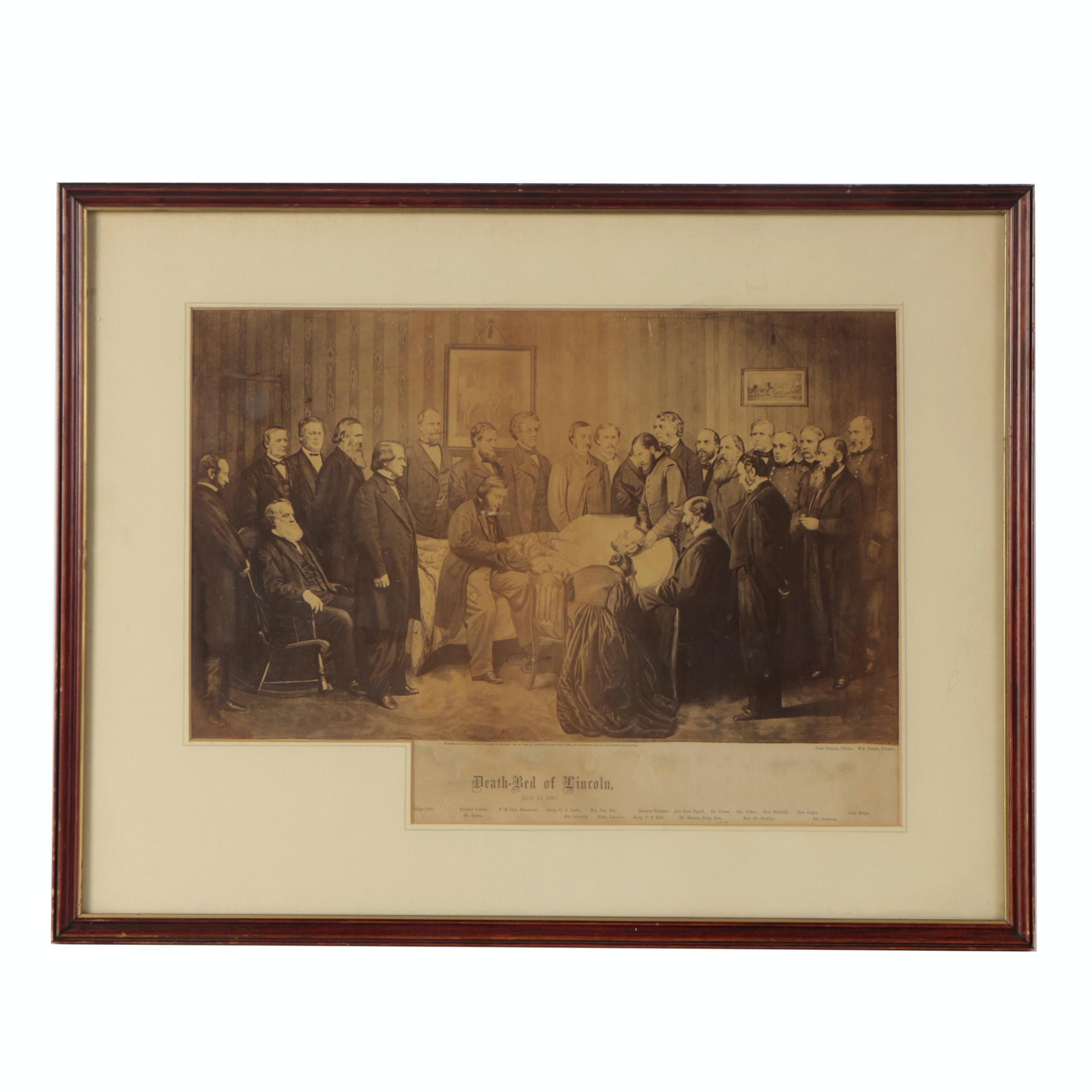 """Reproduction Photograph after John Littlefield's Painting """"Death-Bed of Lincoln"""""""