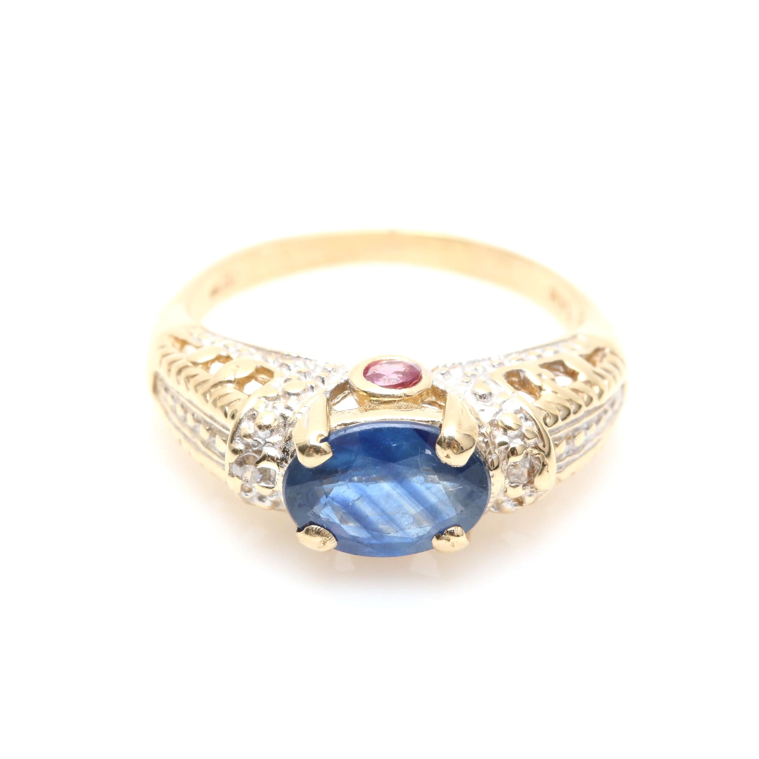 14K Yellow Gold Blue Sapphire, Ruby, and Diamond Ring