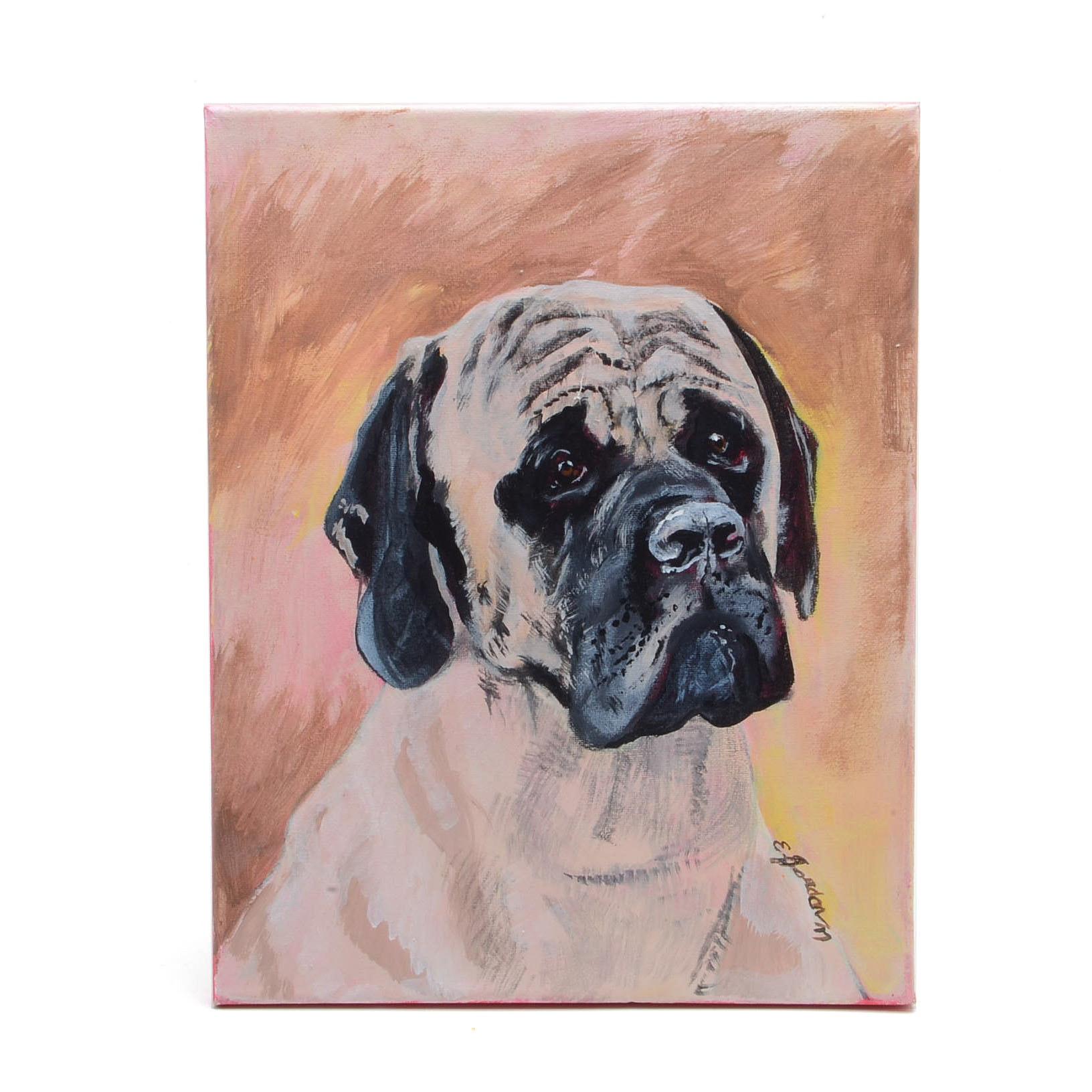 Elliott Jordan Acrylic Painting of an English Mastiff