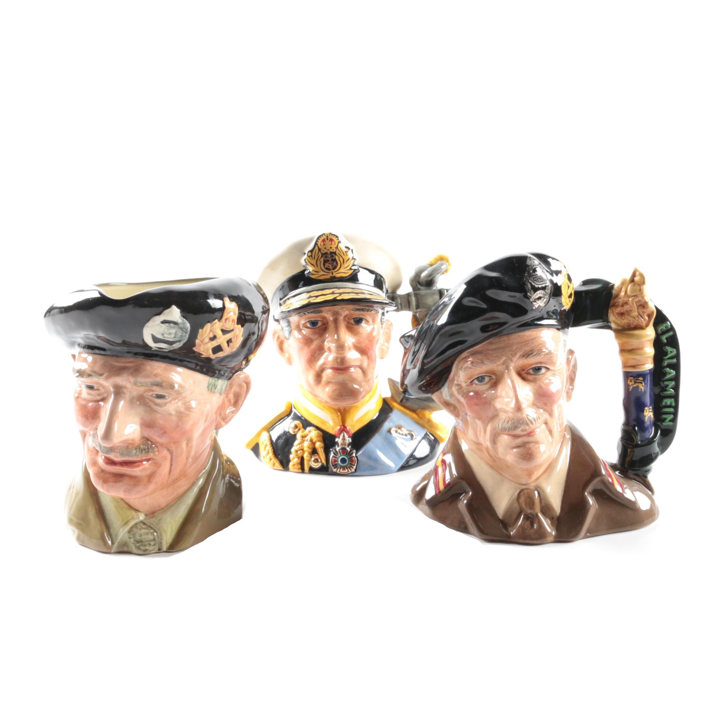 "Royal Doulton ""Earl Mountbatten of Burma"" and ""Field Marshal Montgomery"" Jugs"
