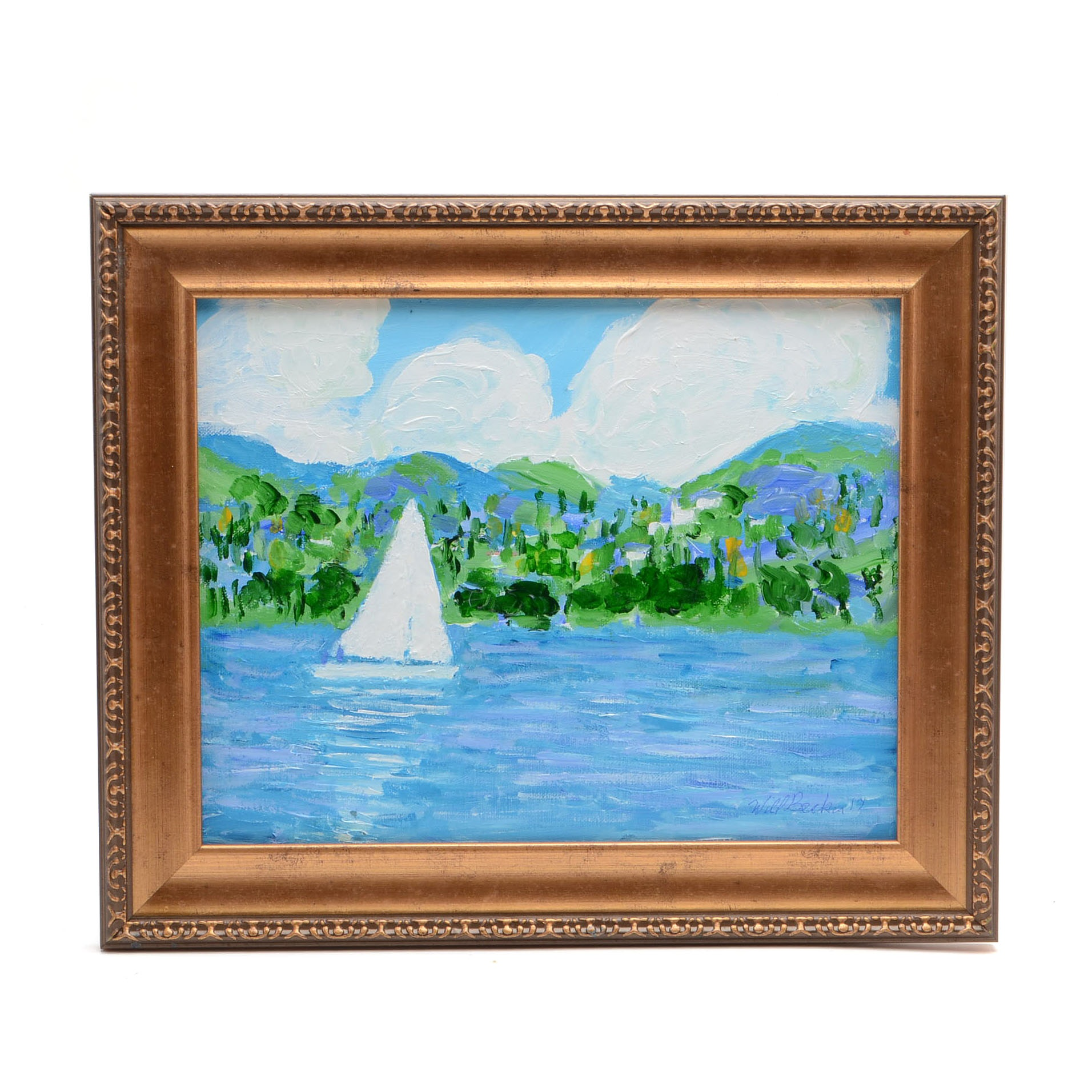 """Will Becker Acrylic Painting on Canvas Board """"Sailing on Grand Traverse Bay"""""""