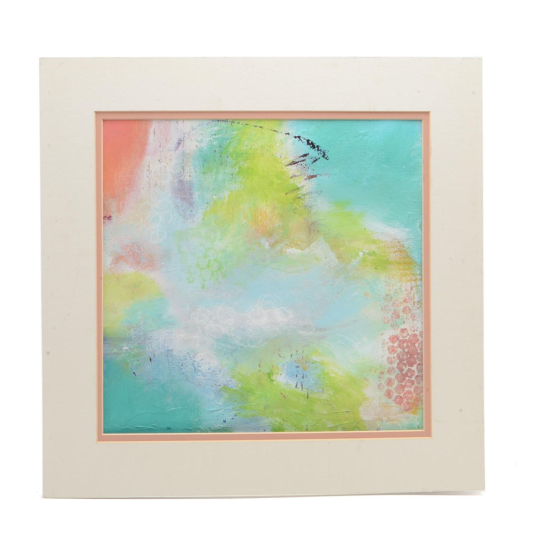 """Original Abstract Mixed Media Painting """"Pastel Abstract"""""""