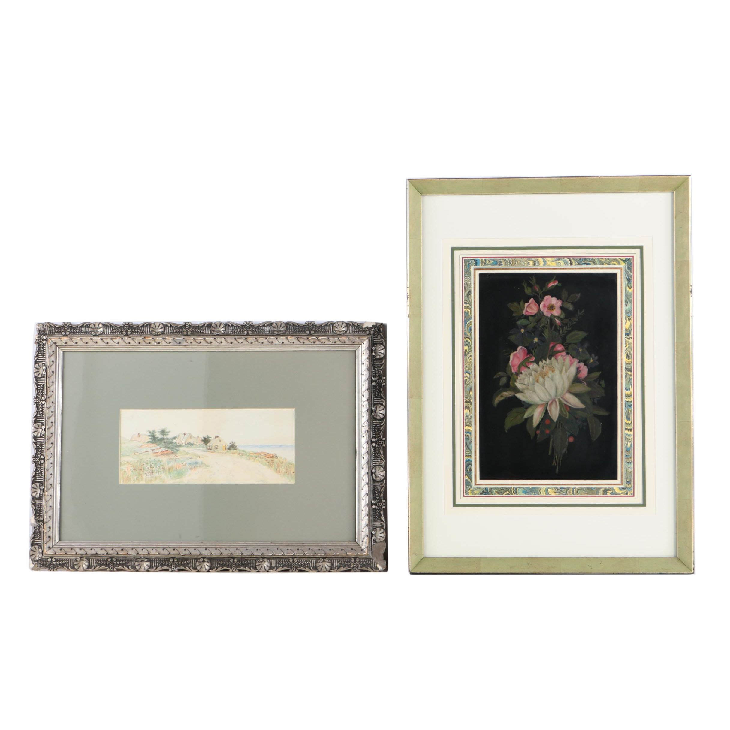 F.A. Fogg Watercolor Landscape with Oil Painting of Flowers on Metal Plate