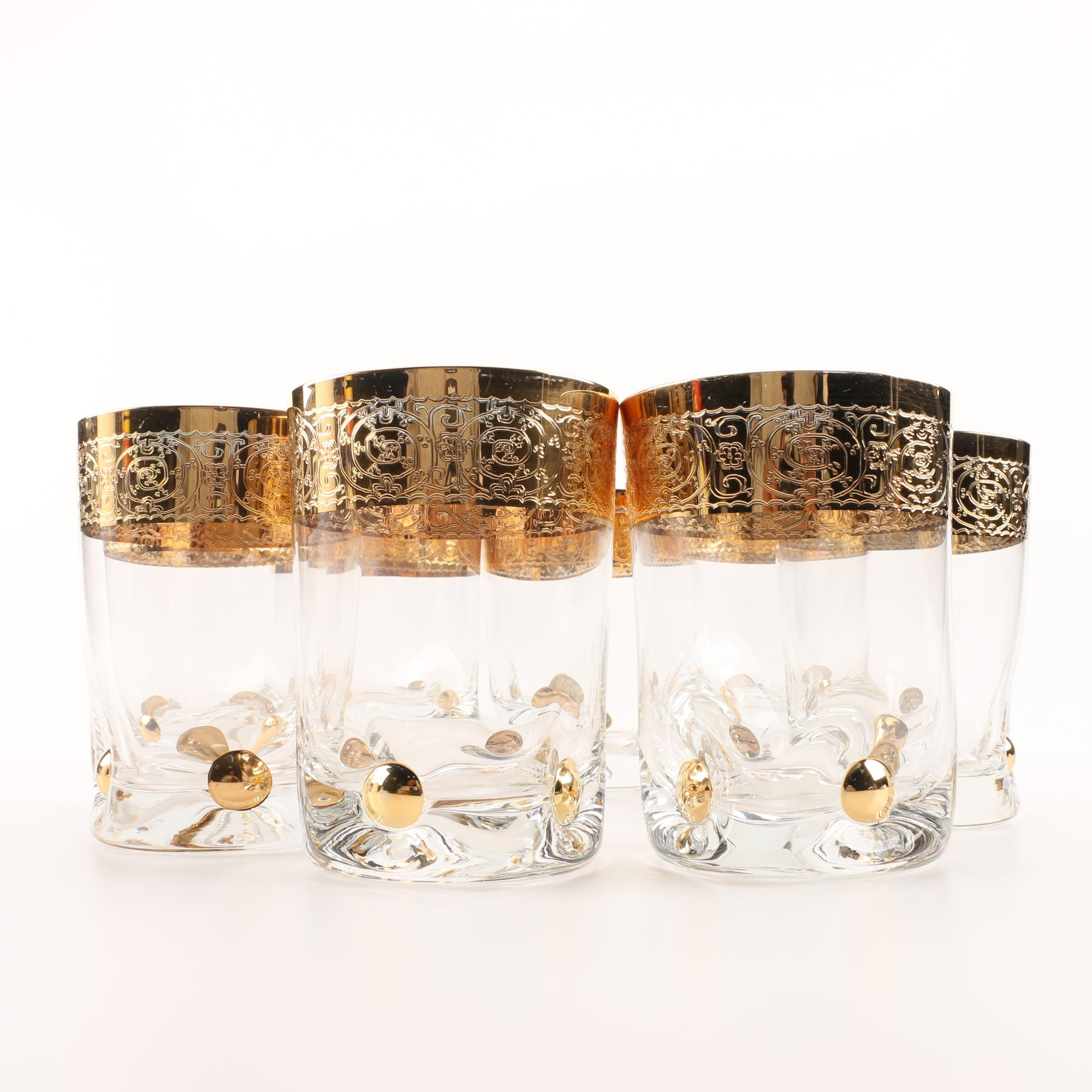 Eight Gilt Rimmed Old Fashion Glasses