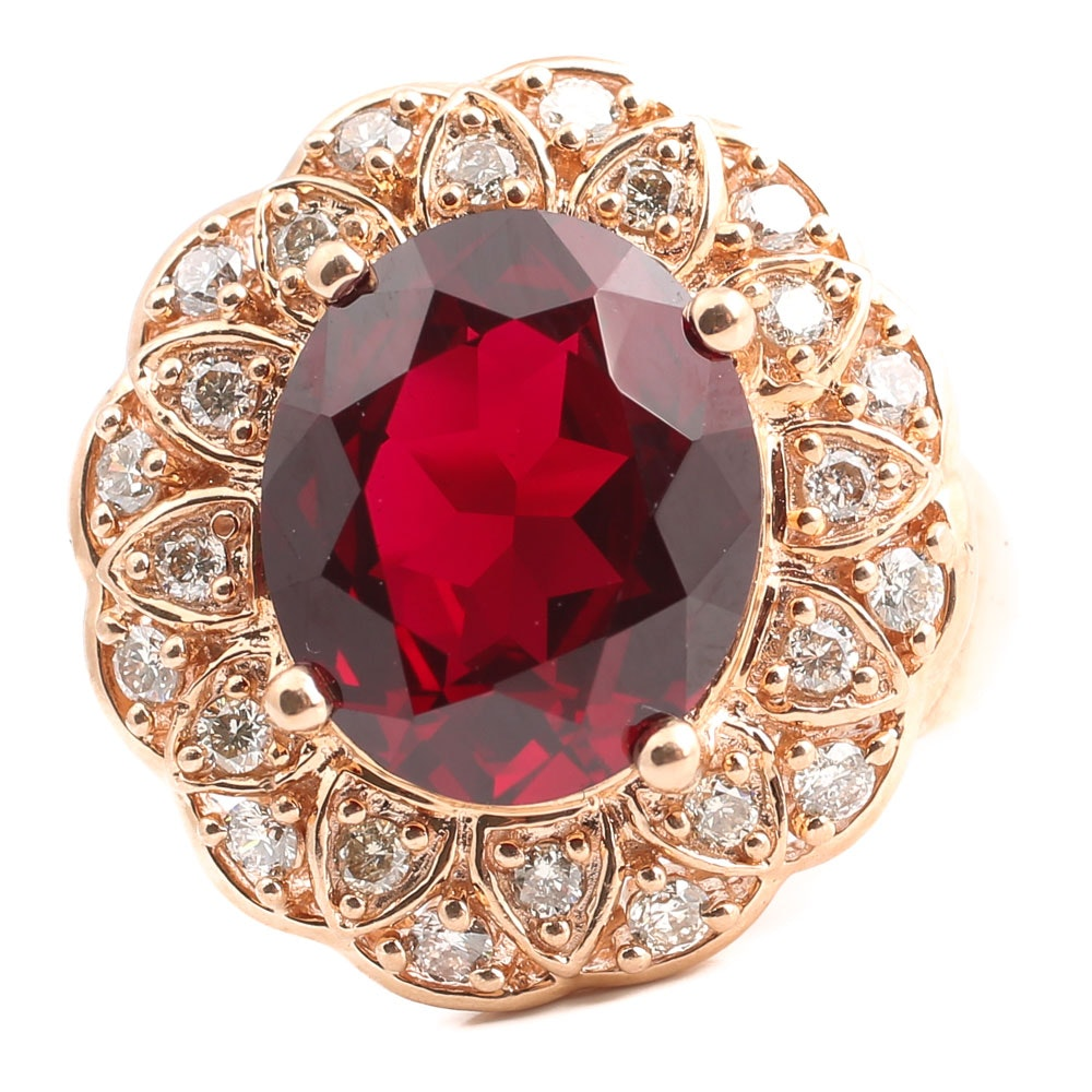 14K Rose Gold 6.36 Carat Synthetic Ruby and Diamond Ring