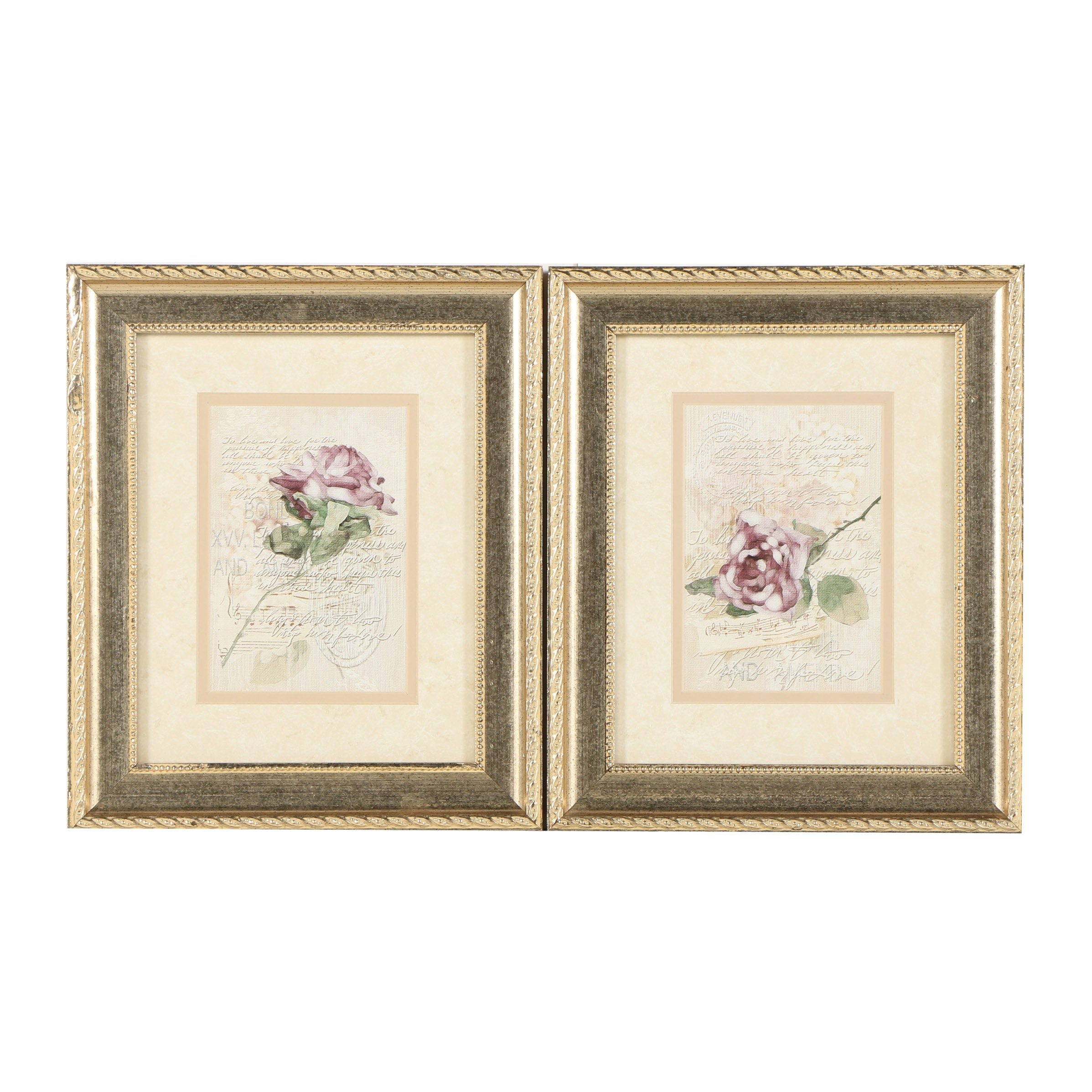 Two Offset Lithographs with Roses