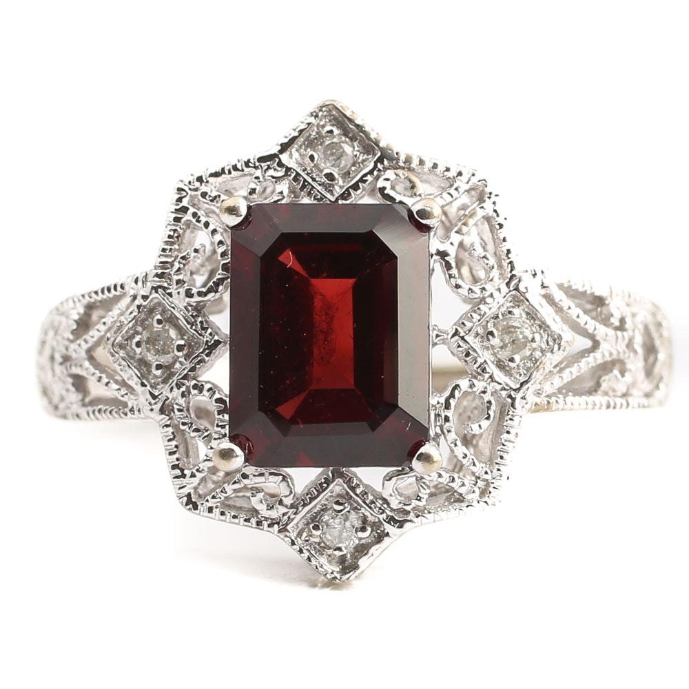 14K White Gold Almandine Garnet and Diamond Ring