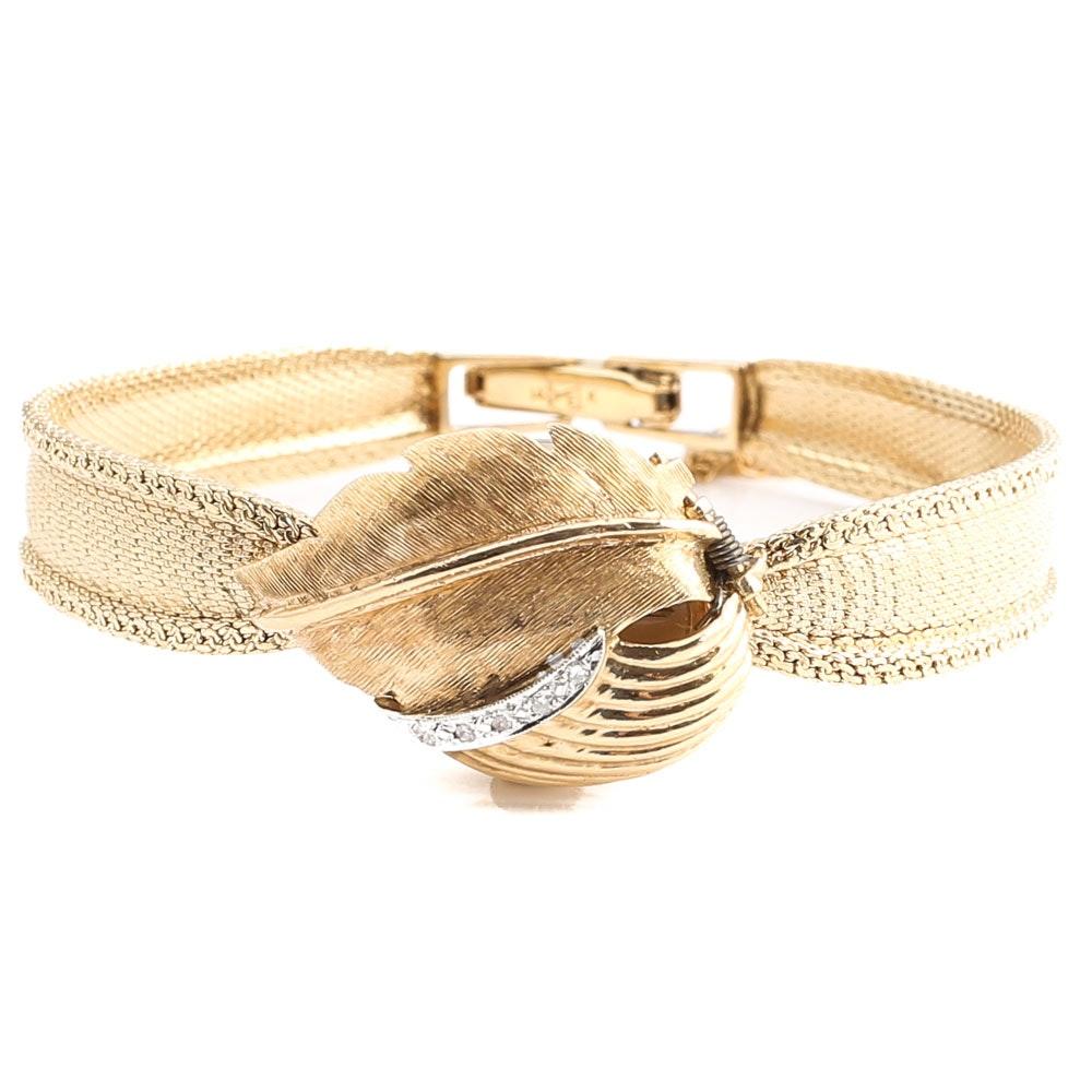 Geneve 14K Yellow Gold Diamond Oval Face Wristwatch