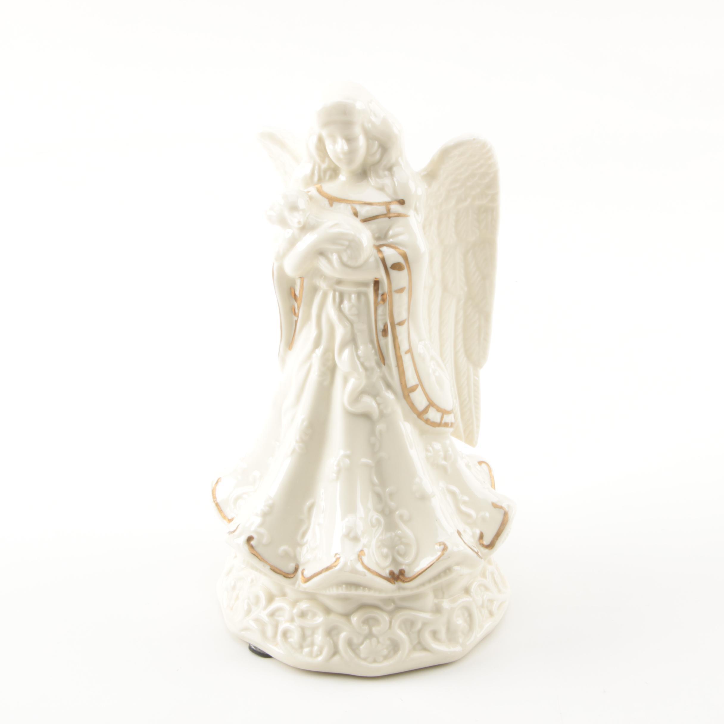 Ceramic Angel Music Box Figurine