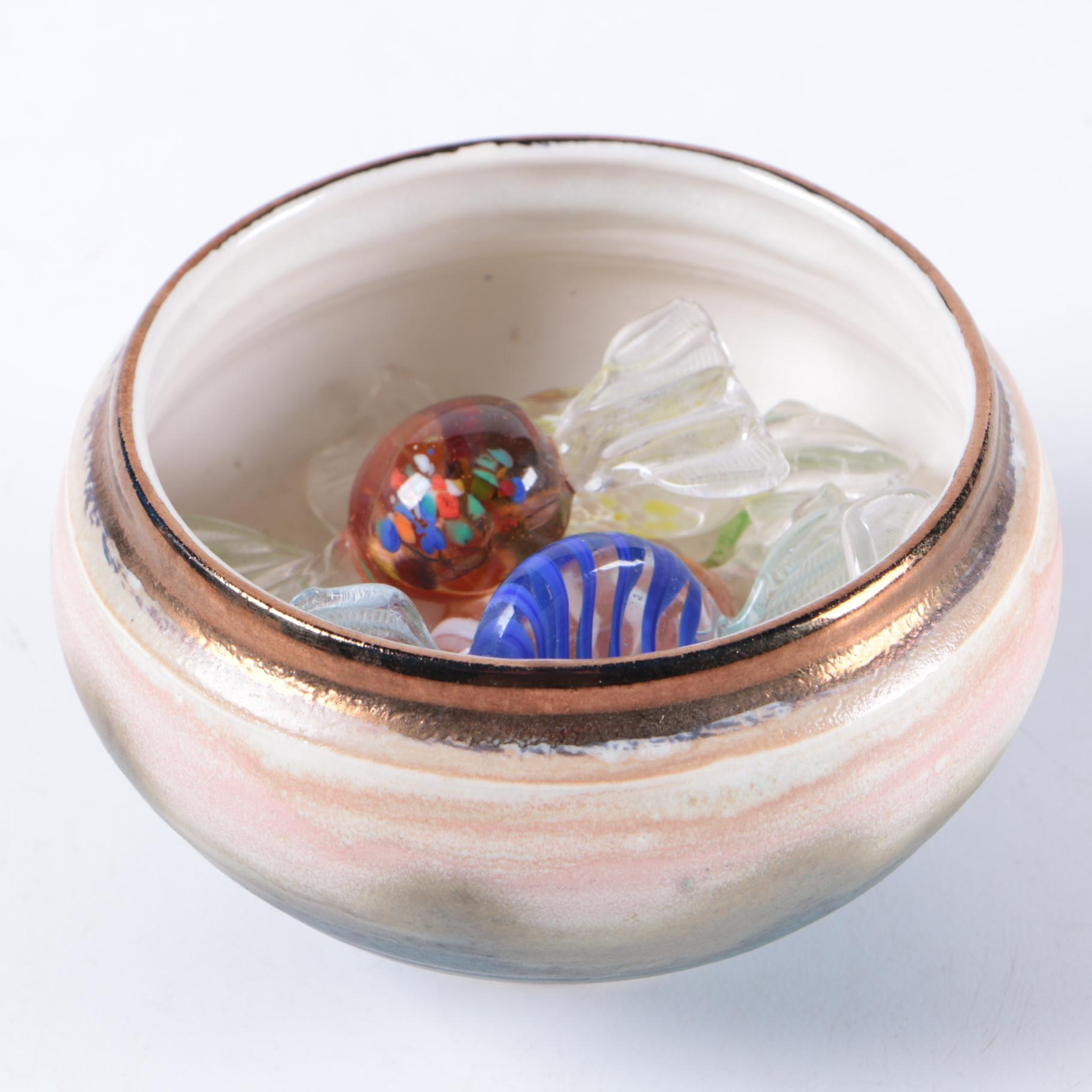 Signed Stoneware Bowl With Art Glass Bon Bons