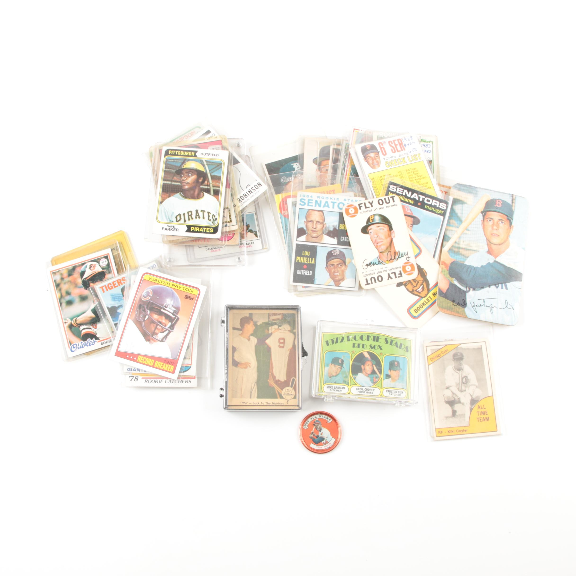 Baseball and Football Trading Cards Including Walter Payton